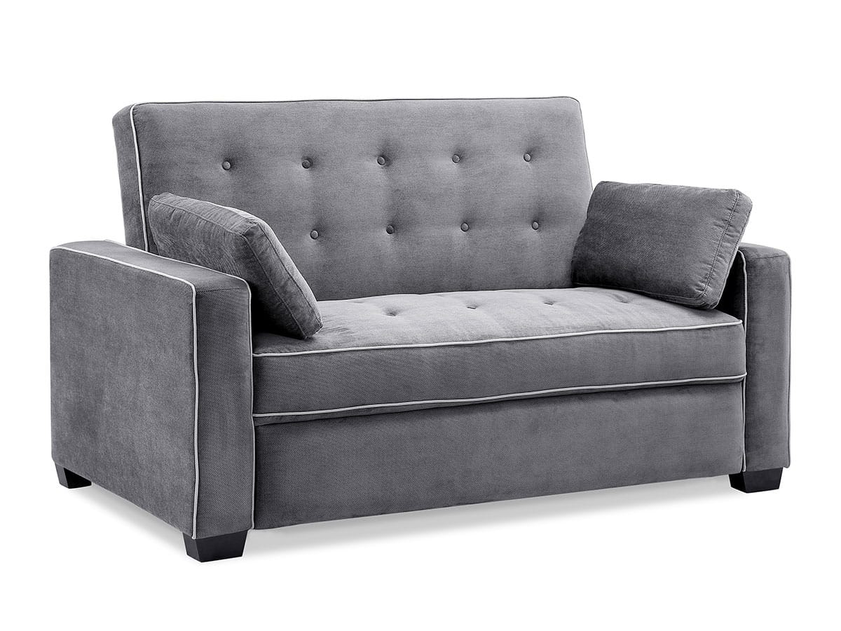 Augustine Loveseat Full Size Sleeper Moon Grey By Serta