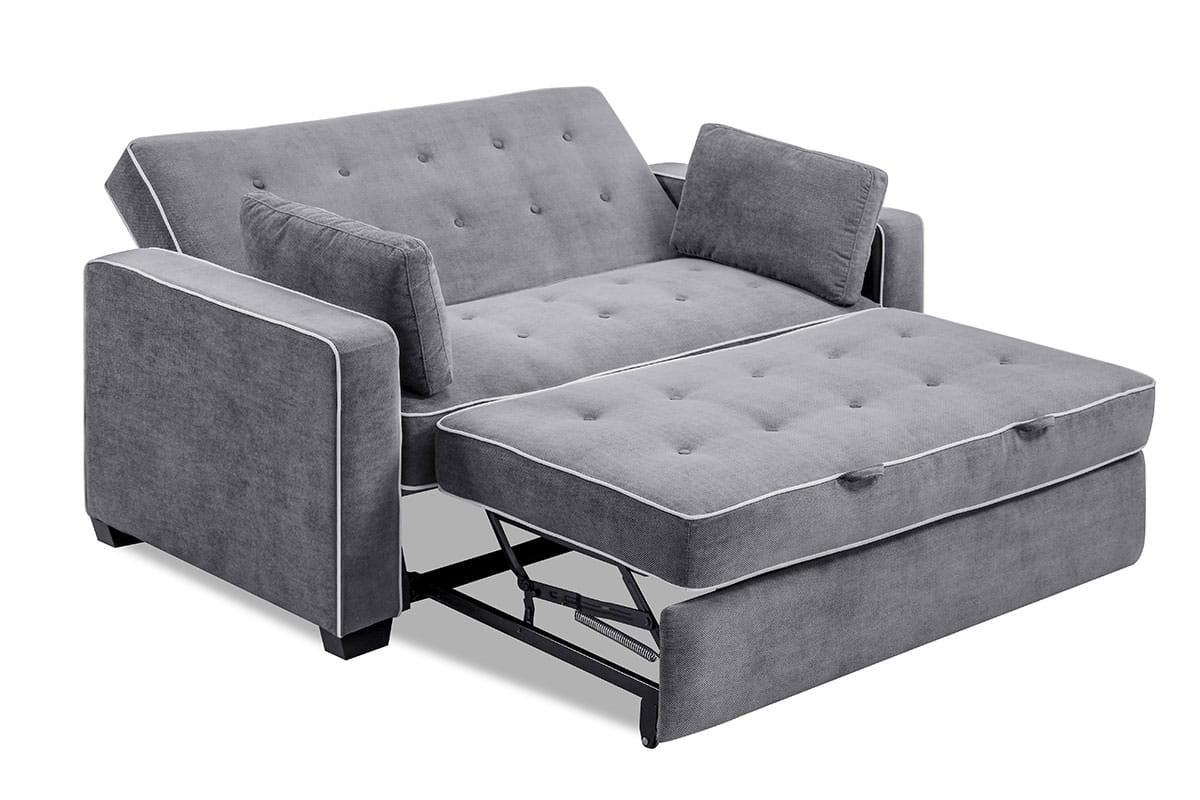 Augustine Loveseat Full Size Sleeper Moon Grey by Serta ...