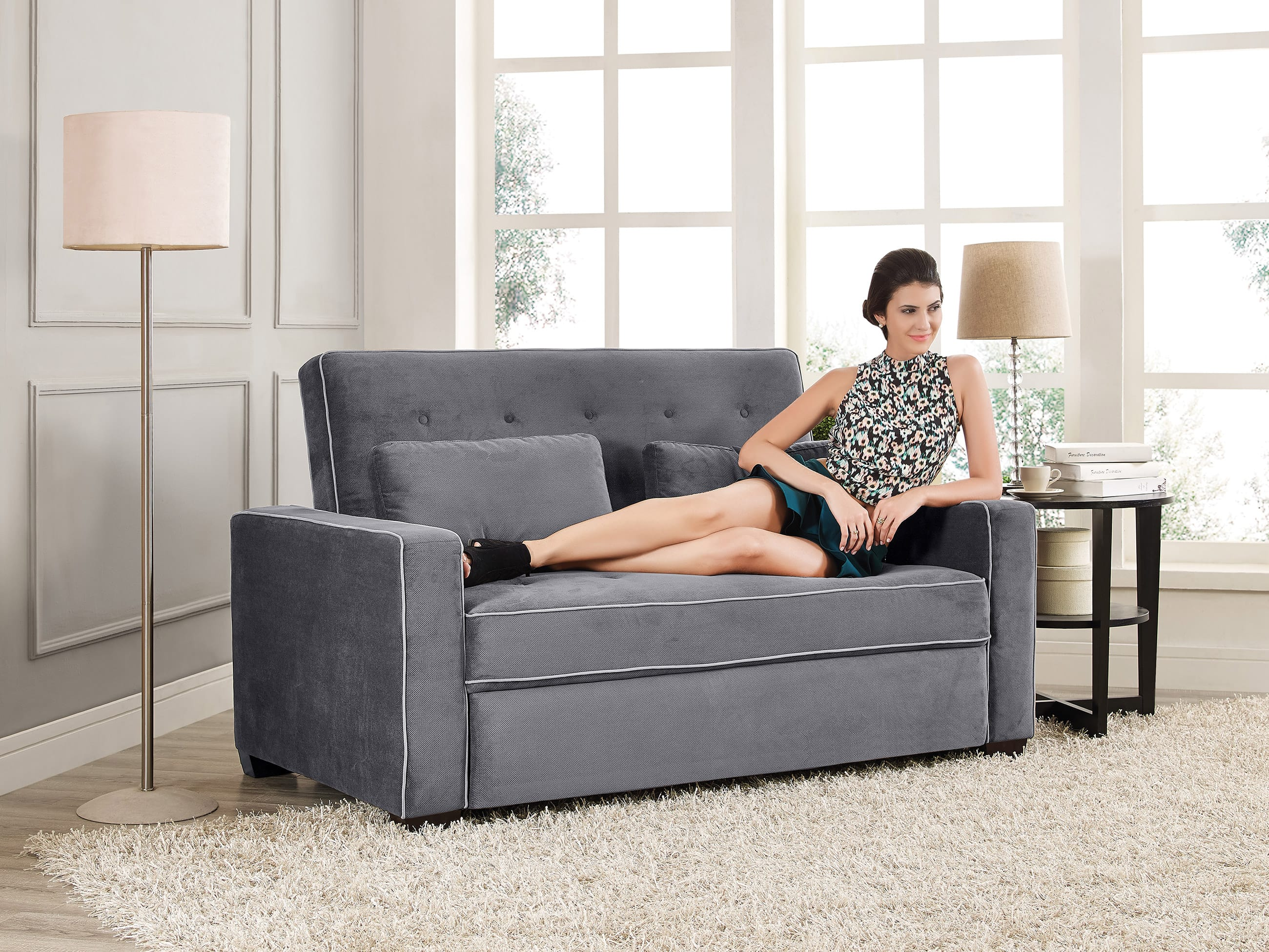 Augustine Sofa With Pop Up Bed Grey
