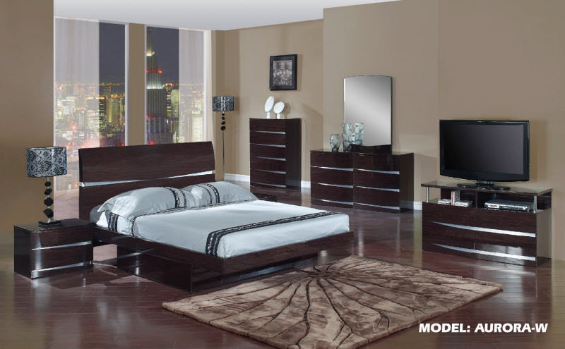 Aurora Wenge Glossy Bedroom Set By Global Furniture
