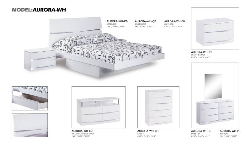 Aurora White Glossy Bedroom Set by Global Furniture