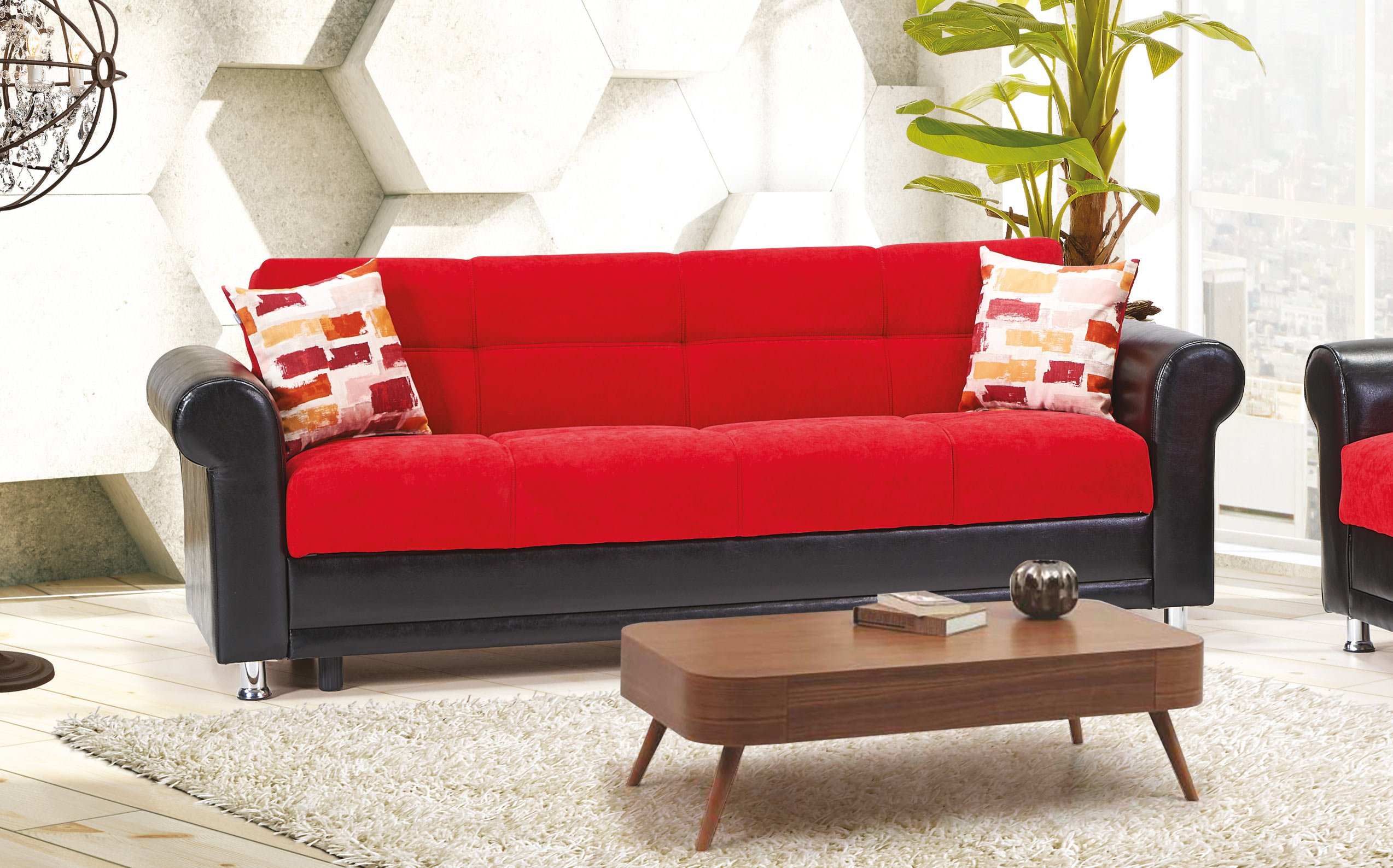 Avalanche Red Convertible Sofa by Casamode