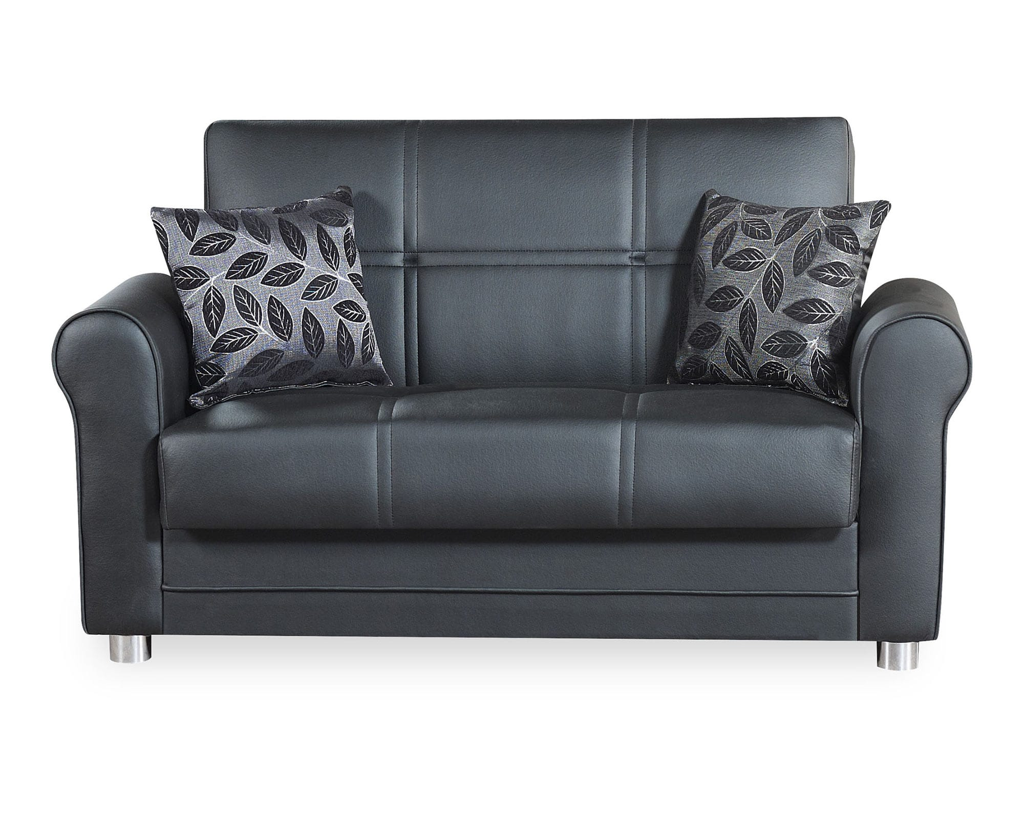 Phenomenal Avalon Plus Black Pu Leather Convertible Loveseat By Casamode Pabps2019 Chair Design Images Pabps2019Com