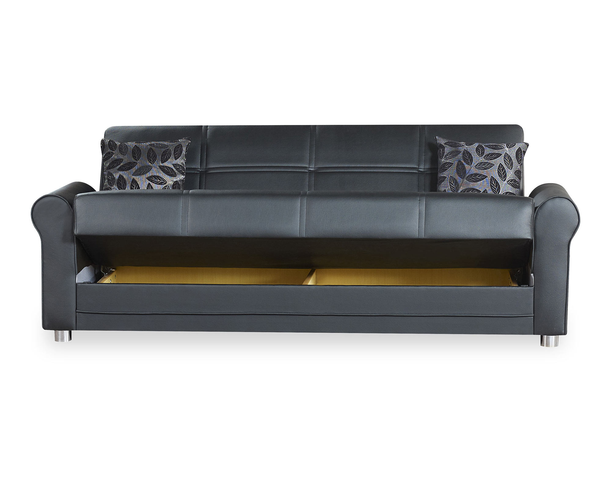 Avalon Plus Black PU Leather Convertible Sofa by Casamode