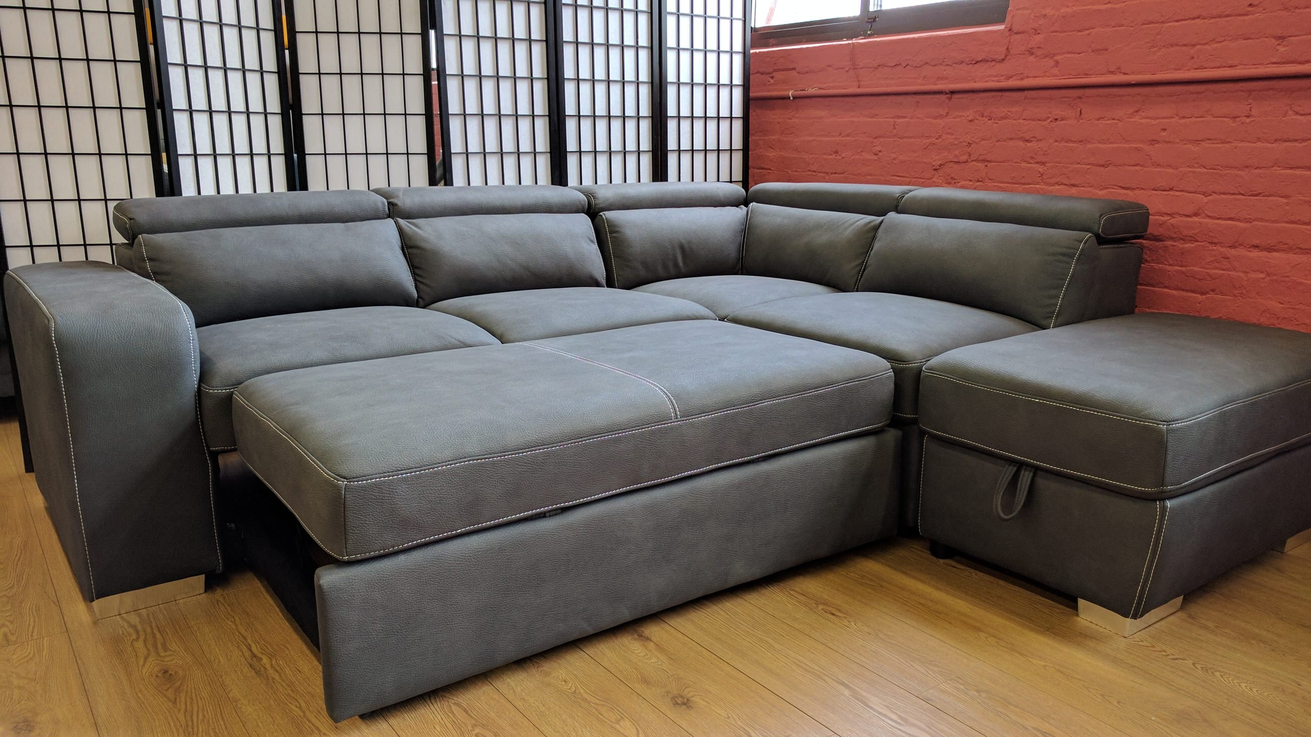 Abby sleeper sectional gray by primo for Sleeper sectional