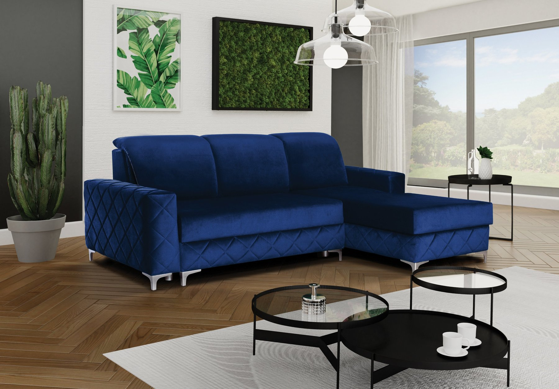 Alfredo Blue Sectional Sofa By Skyler Designs