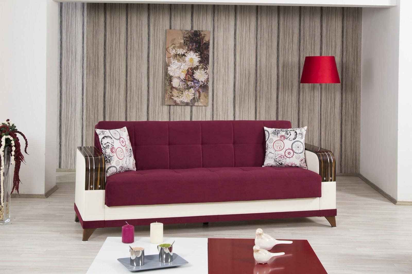 almira golf burgundy convertible sofa bed by casamode