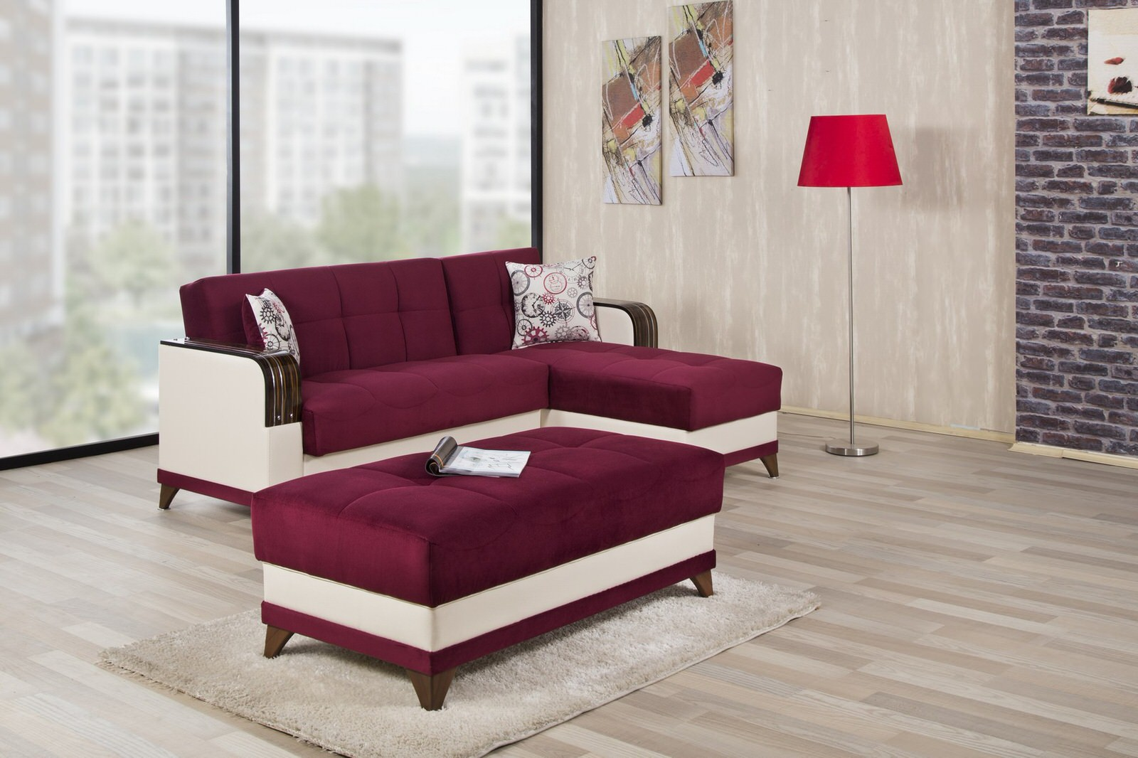Almira Golf Burgundy Sectional Sofa by Casamode