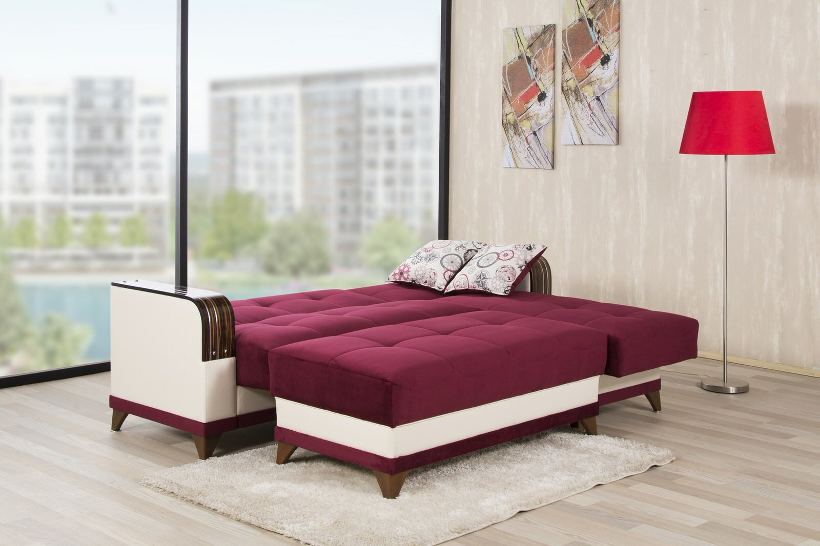 Burgundy Sectional Sofa Twill Fabric In