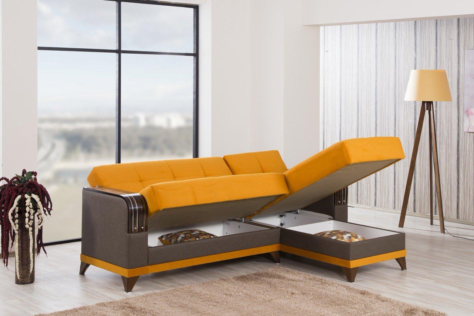 Almira Riva Orange Sectional Sofa by Casamode