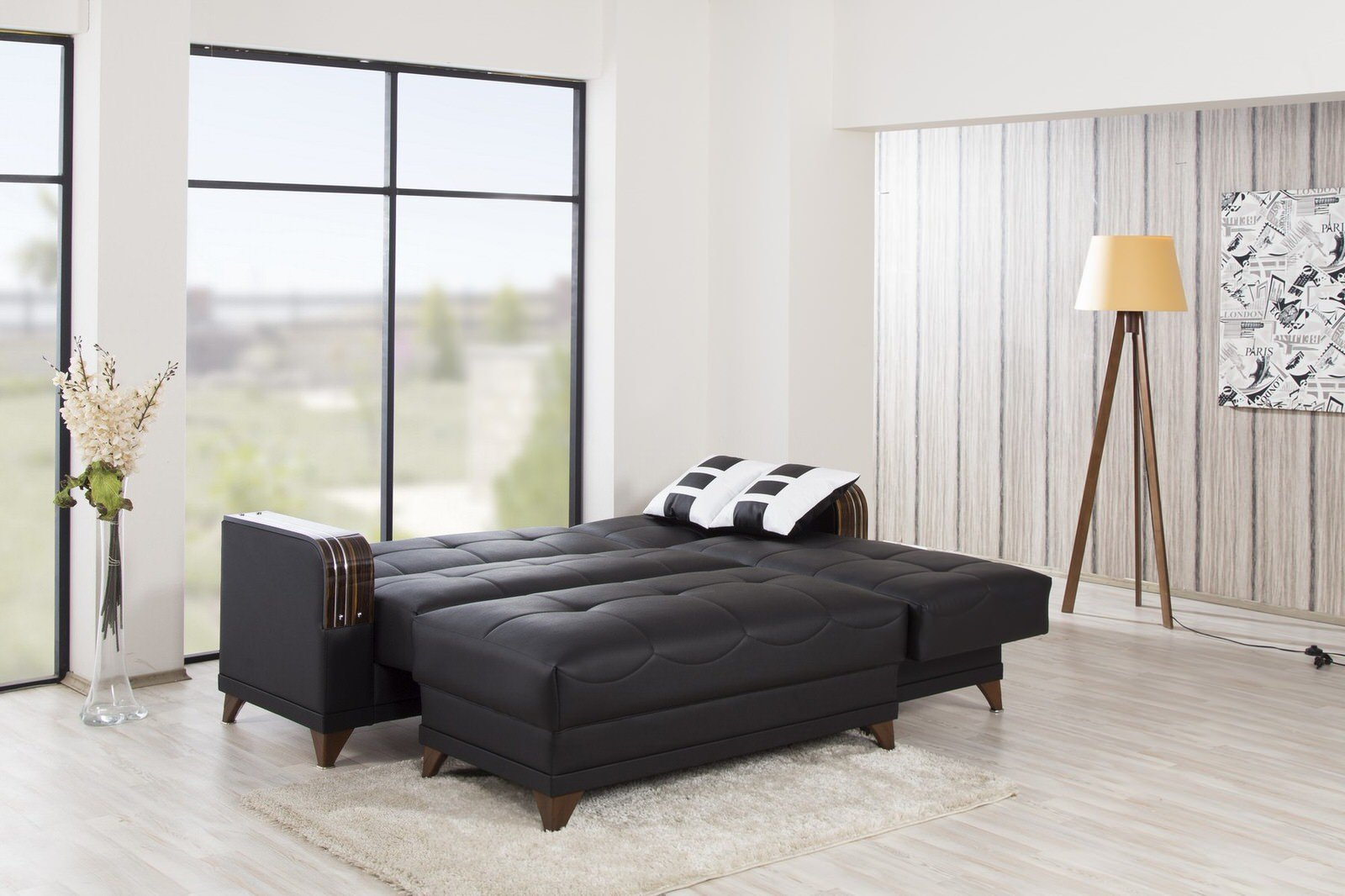 Almira Zen Black Sectional Sofa By Casamode