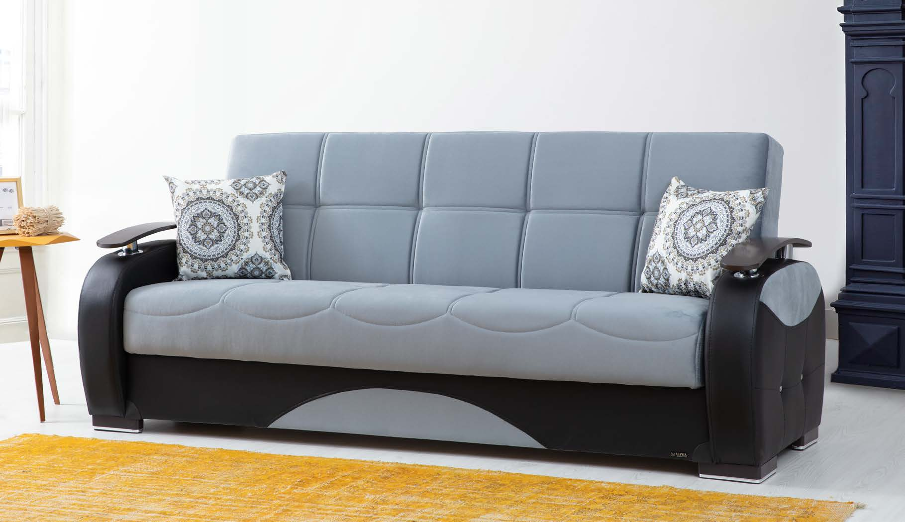 Black Pu Leather W Wood Arm Sofa Bed