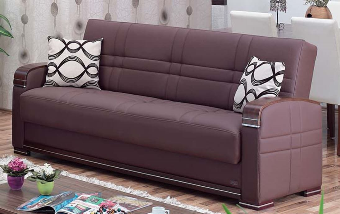 Alpine Brown Leather Sofa Bed By Empire Furniture Usa