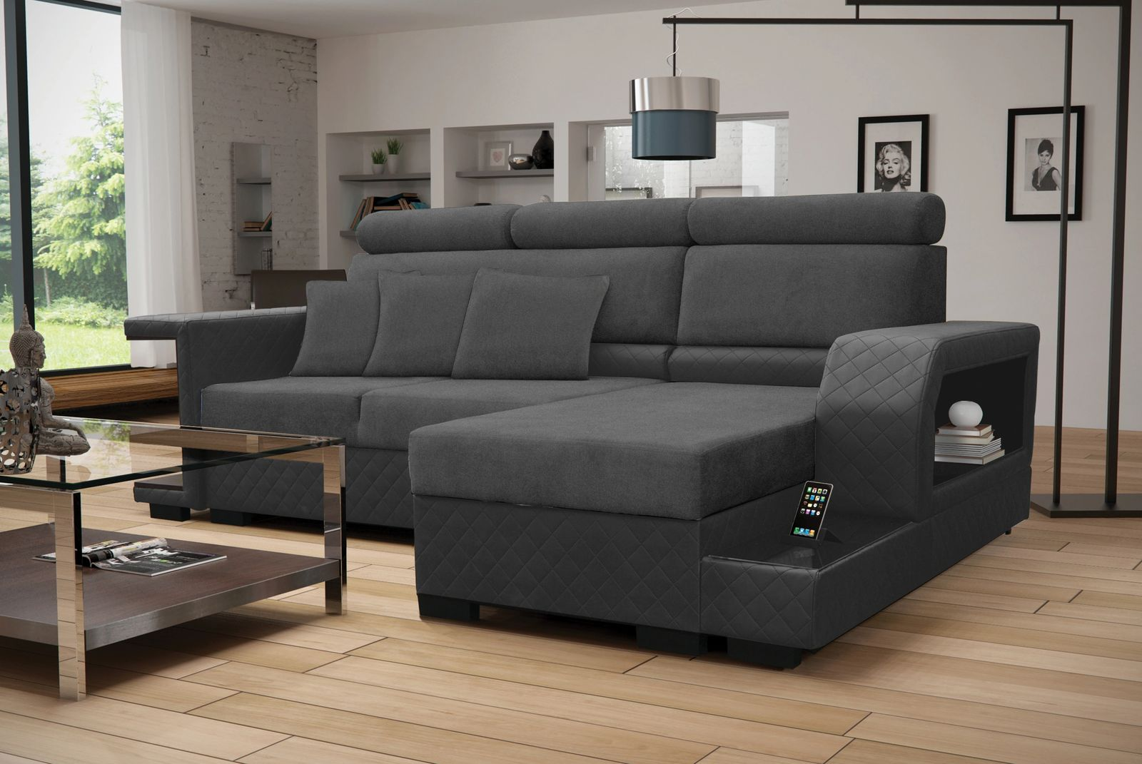 Amaro Black Sectional Sofa by Skyler Designs