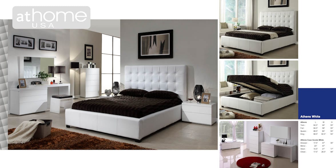 Athens White Bonded Leather Bedroom Set By At Home USA