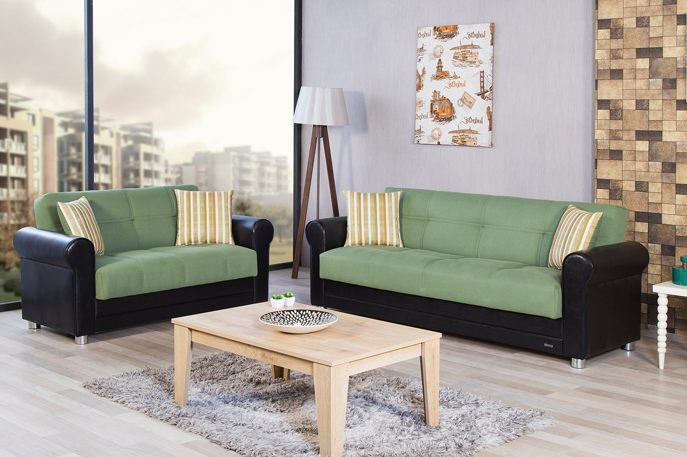 Avalon Prusa Green Convertible Loveseat By Casamode