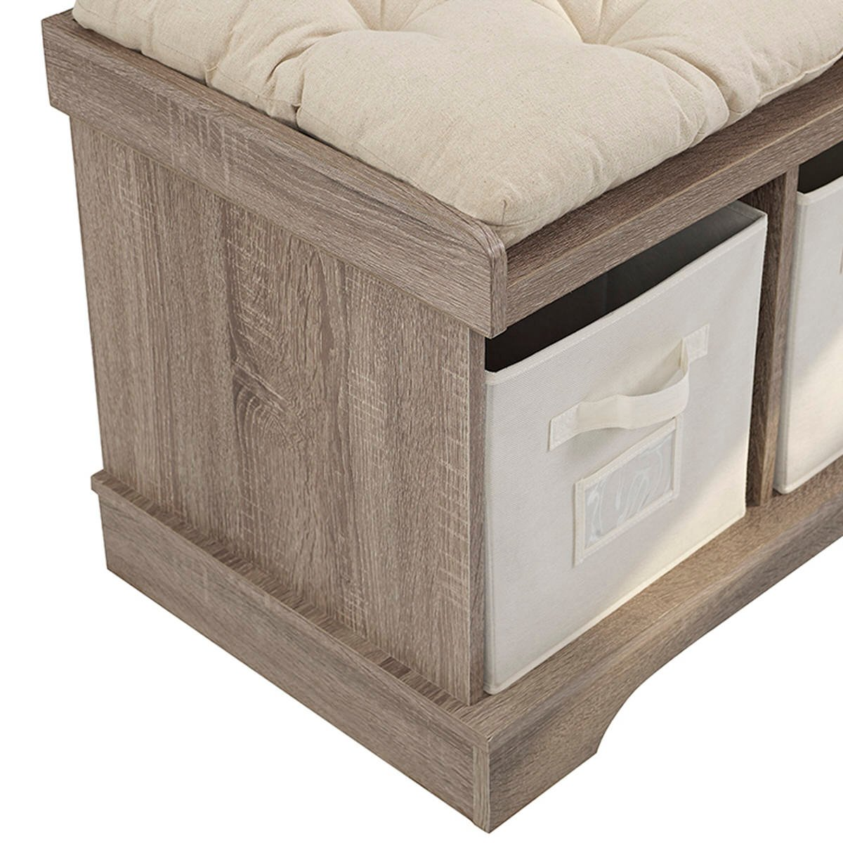 Essential 42 Inch Wood Storage Bench W Totes Cushion Driftwood