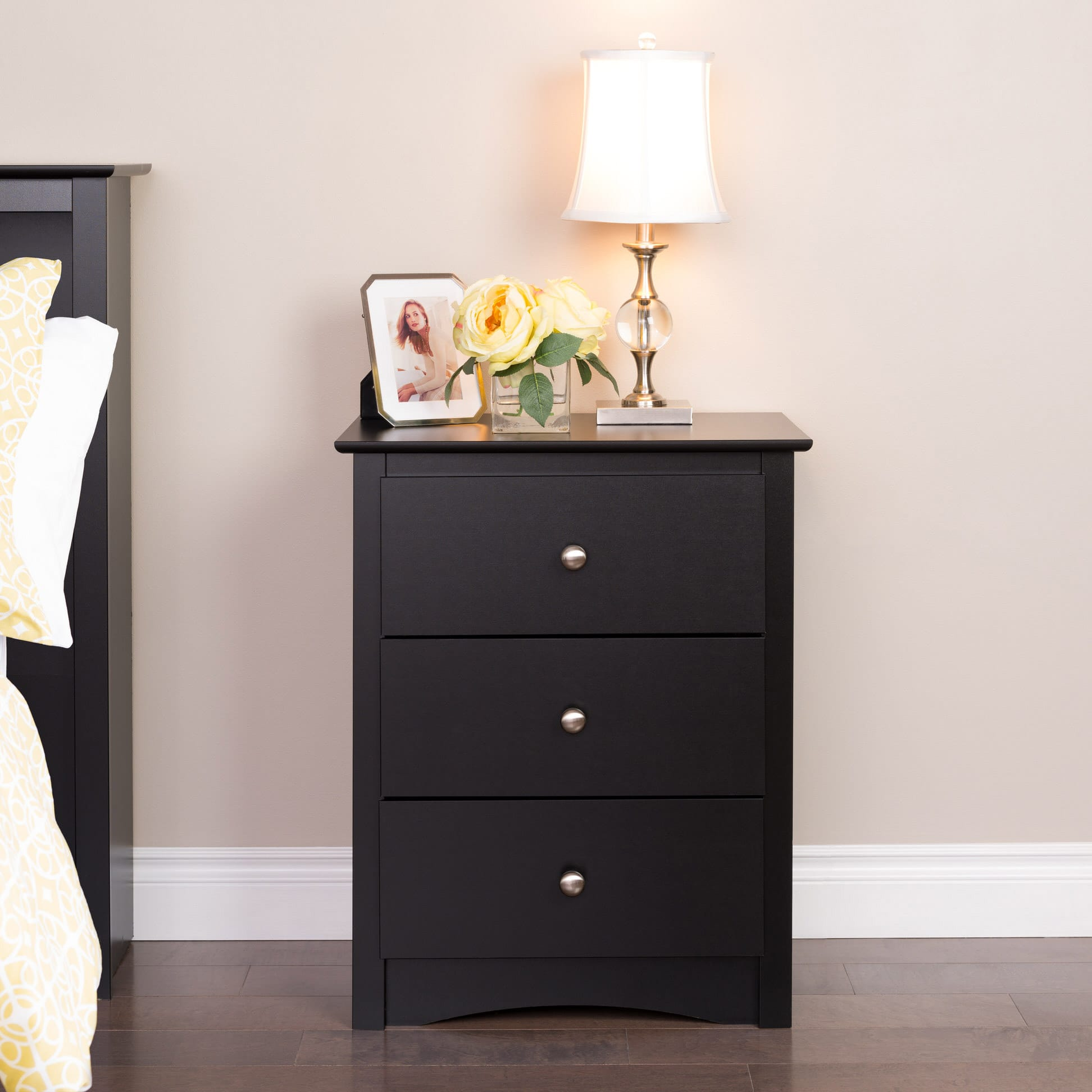 sonoma 3 drawer tall nightstand by prepac. Black Bedroom Furniture Sets. Home Design Ideas