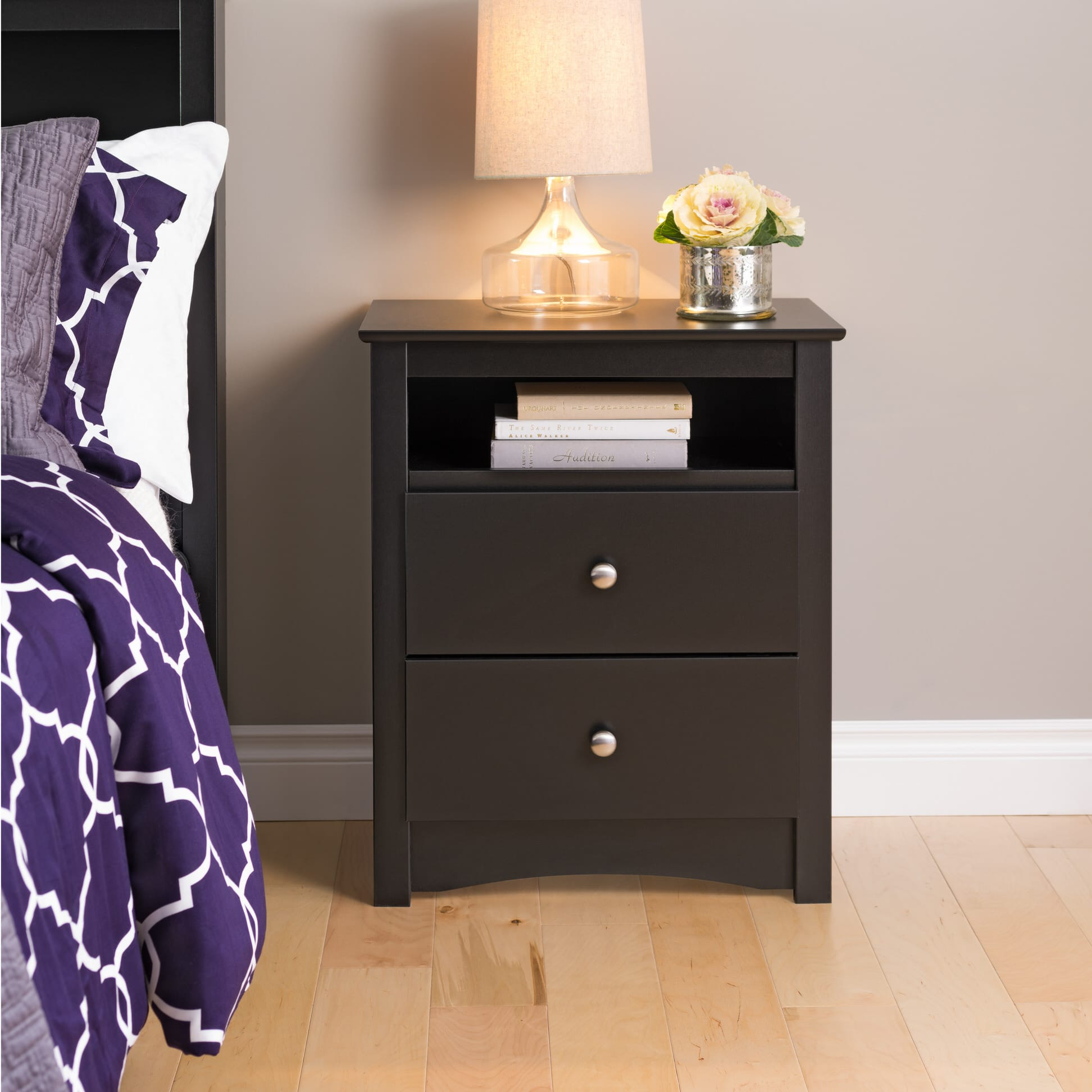 Sonoma 2 Drawer Tall Nightstand With Open Cubbie By Prepac
