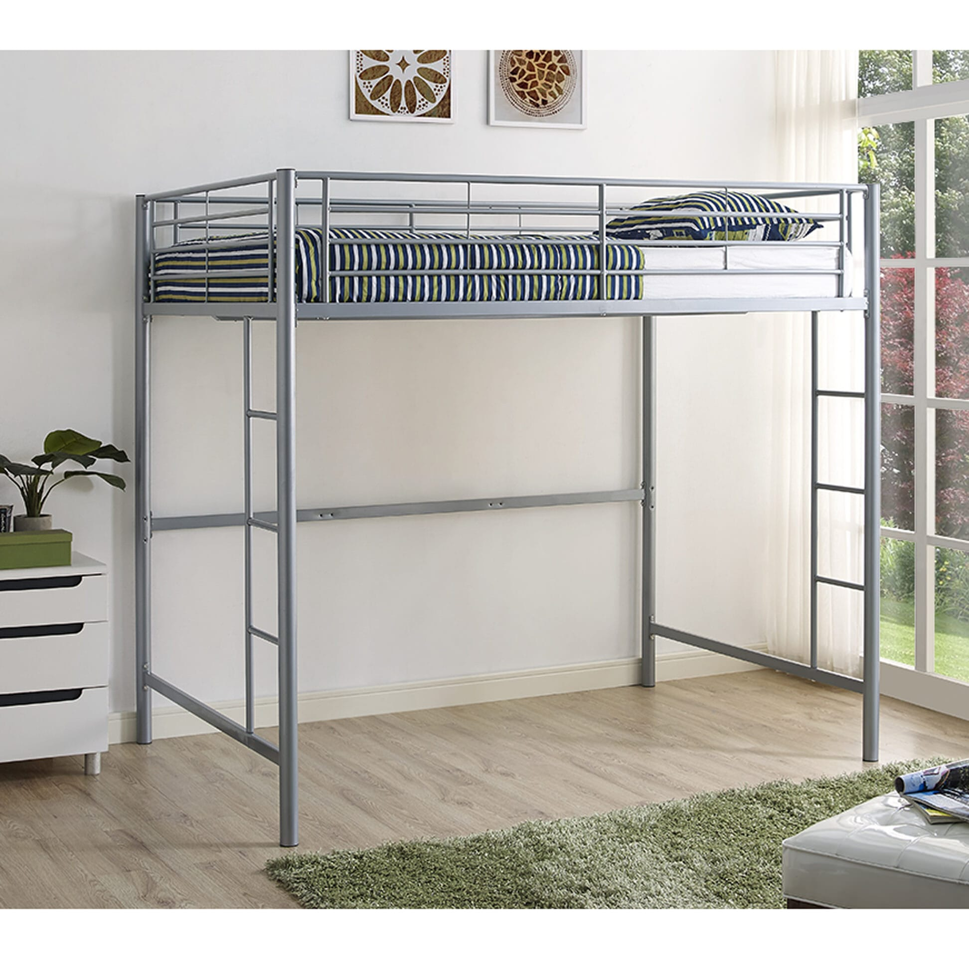 Metal Full Loft Bed Silver By Walker Edison