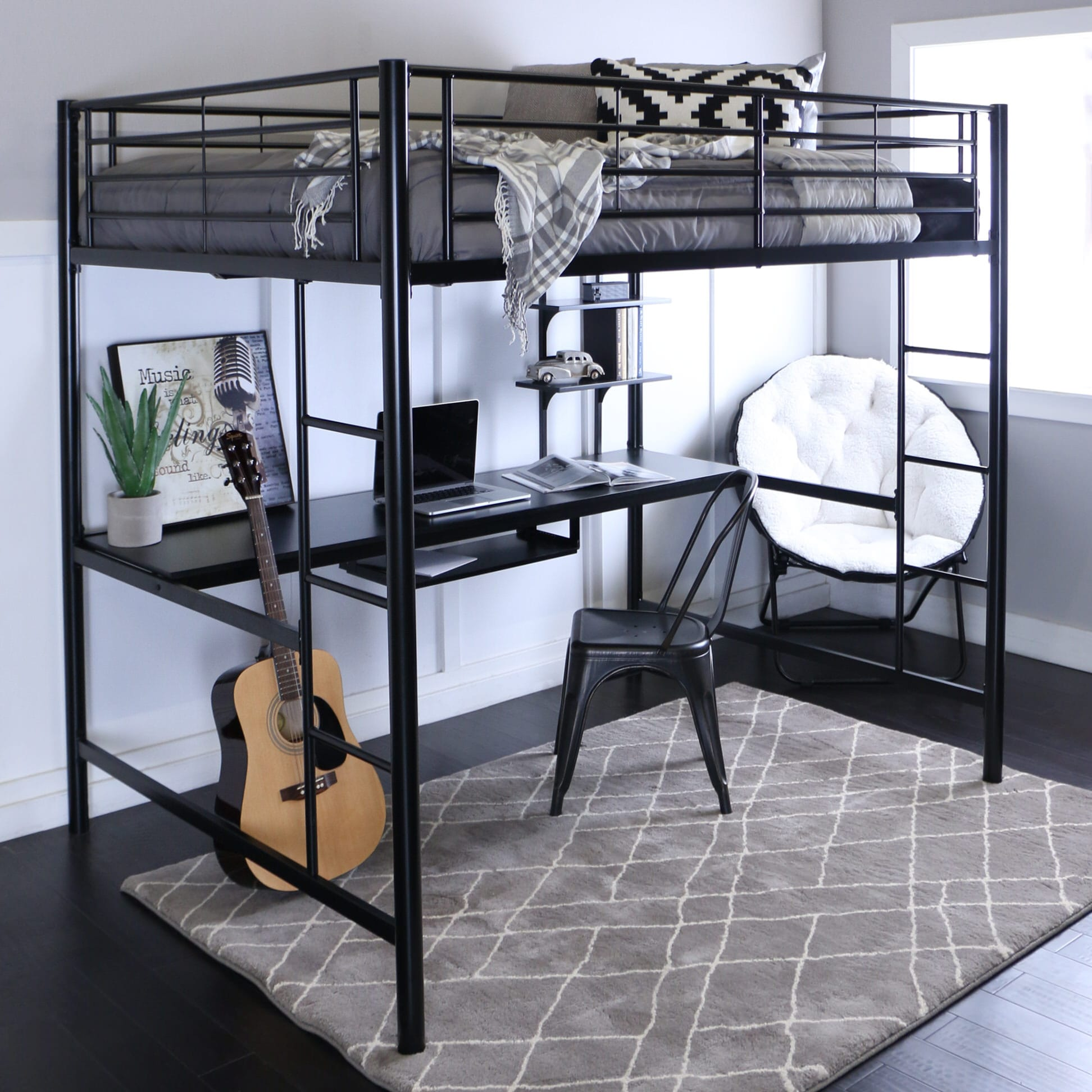 Metal Full Loft Bed With Workstation