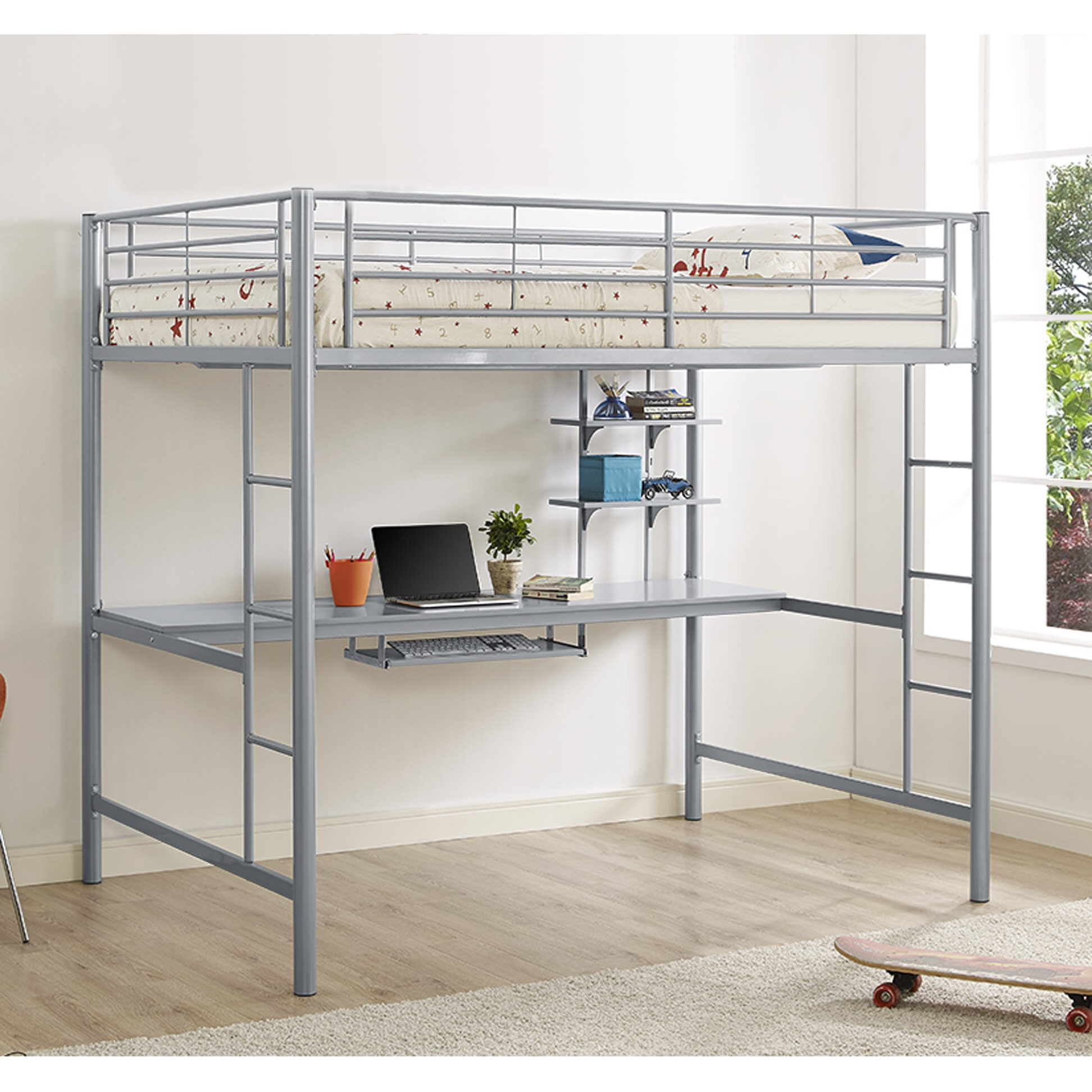 Metal Full Loft Bed with Workstation - Silver by Walker Edison