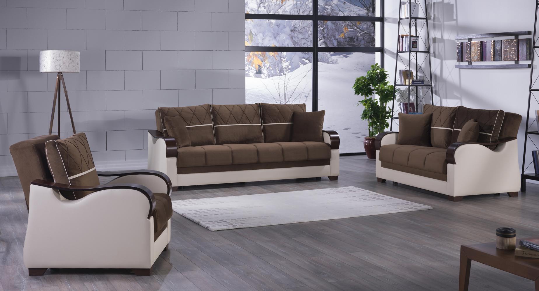 Bennett Best Brown Sofa, Love & Chair Set by Istikbal Furniture