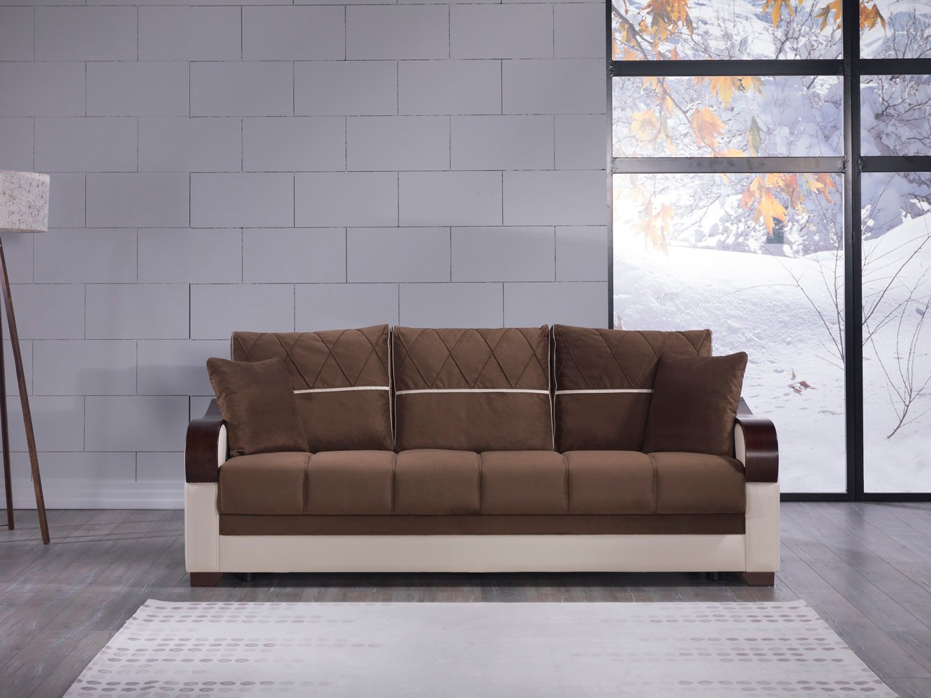 Bennett Best Brown Convertible Sofa Bed by Istikbal (Sunset)