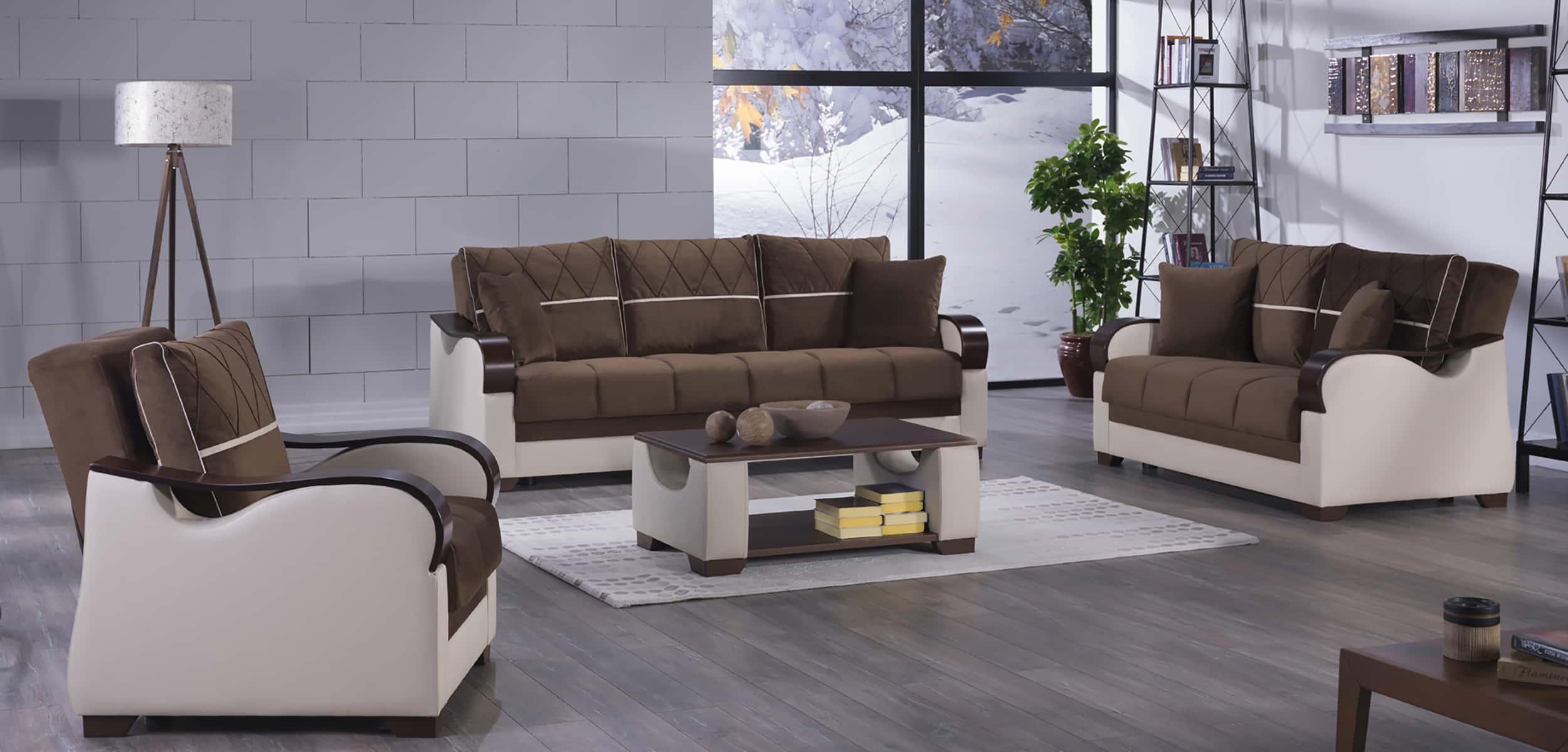 Bennett Best Brown Sofa Love & Chair by Sunset