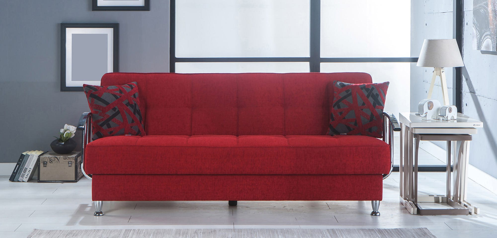 Betsy Story Red Convertible Sofa Bed By