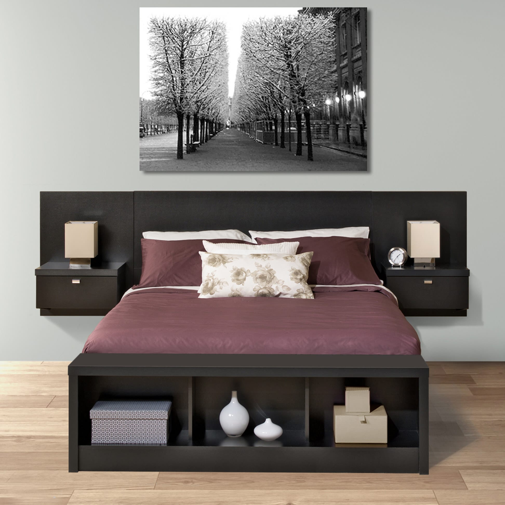 Series 9 Designer Floating Queen Headboard With Nightstands By Prepac