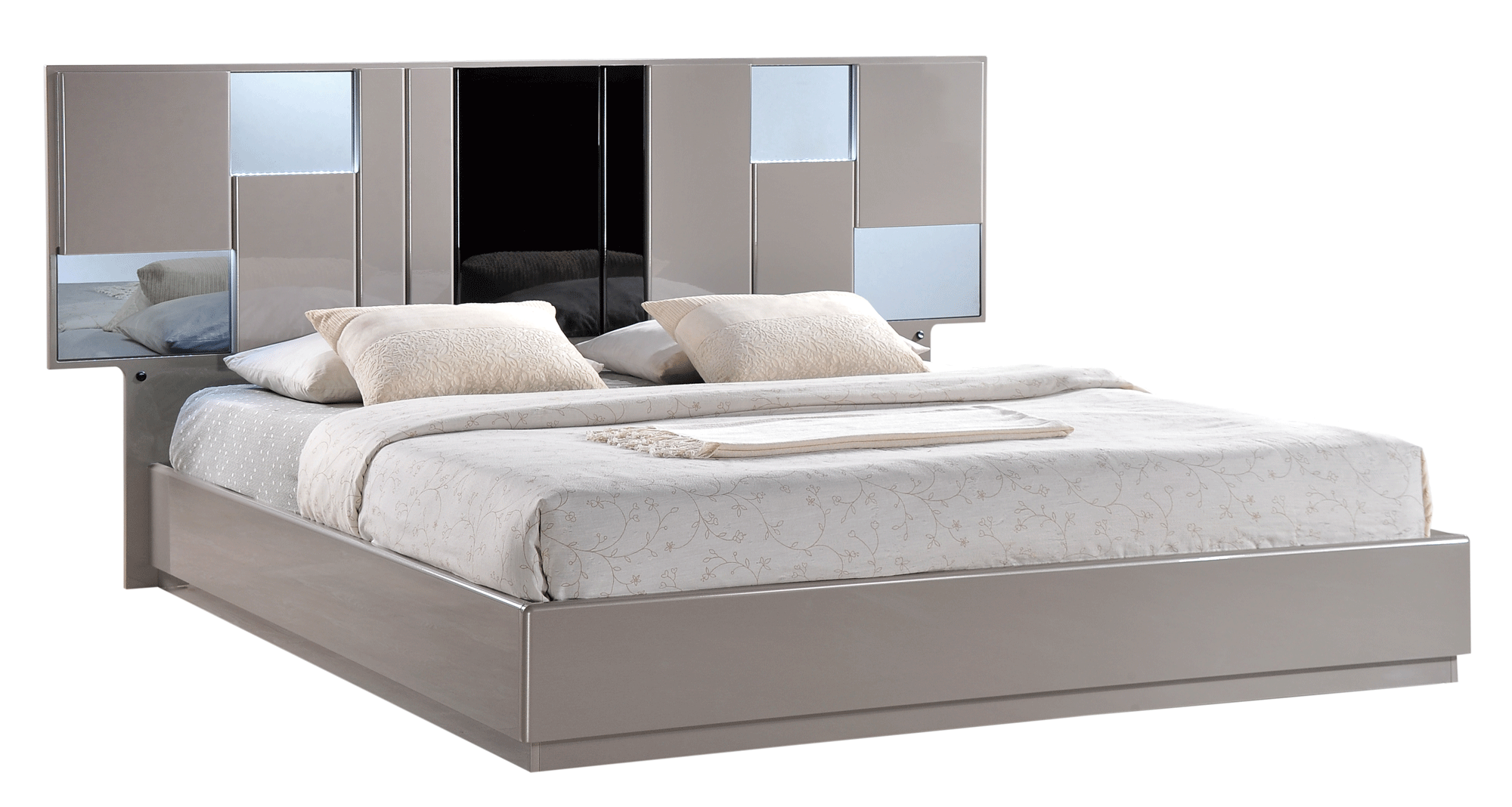 Bianca Grey Glossy Black Glossy Bedroom Set By Global Furniture