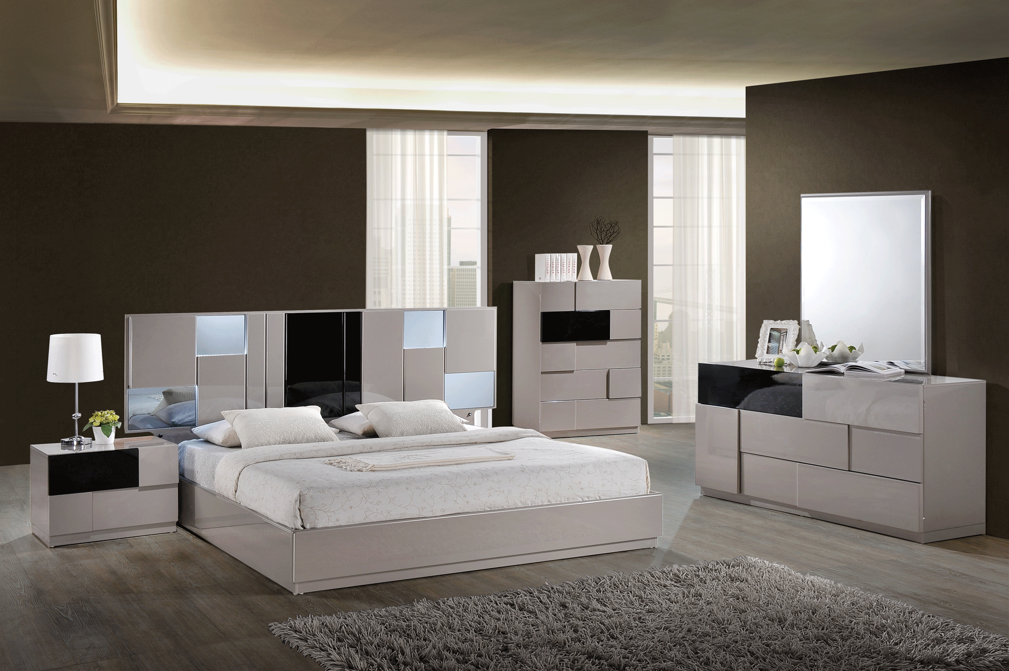 Bianca grey glossy black glossy bedroom set by global - Black and grey bedroom furniture ...
