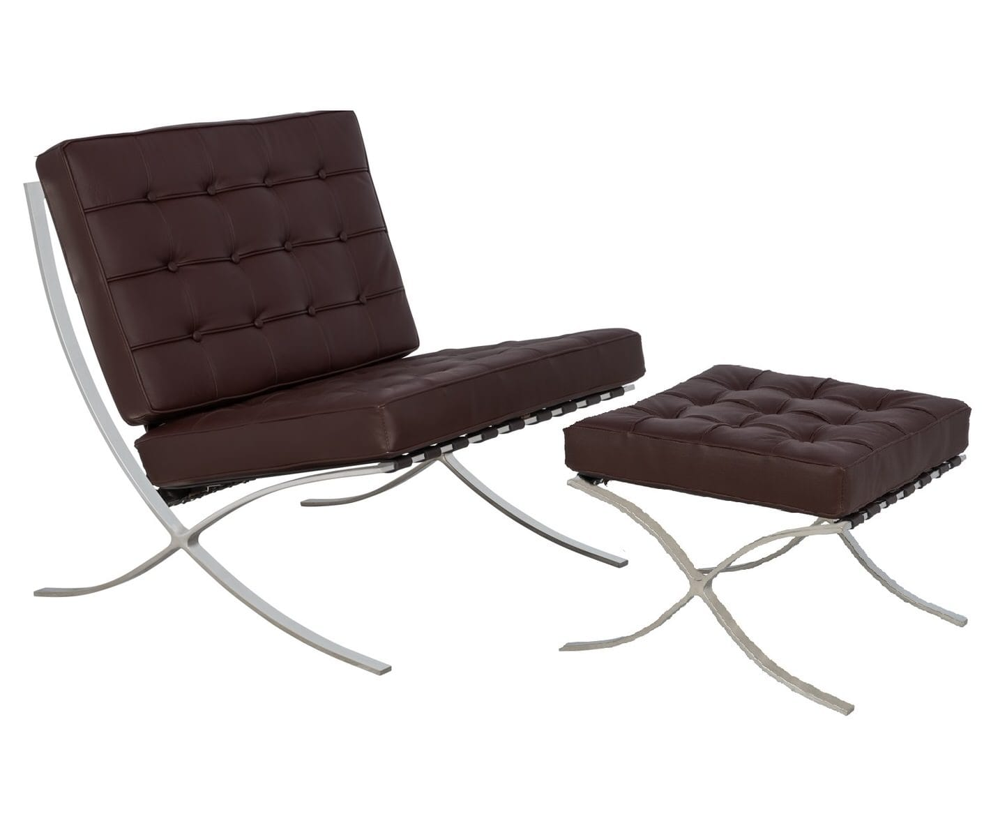 Stupendous Bellefonte Style Modern Pavilion Dark Brown Leather Chair Ottoman By Leisuremod Ncnpc Chair Design For Home Ncnpcorg