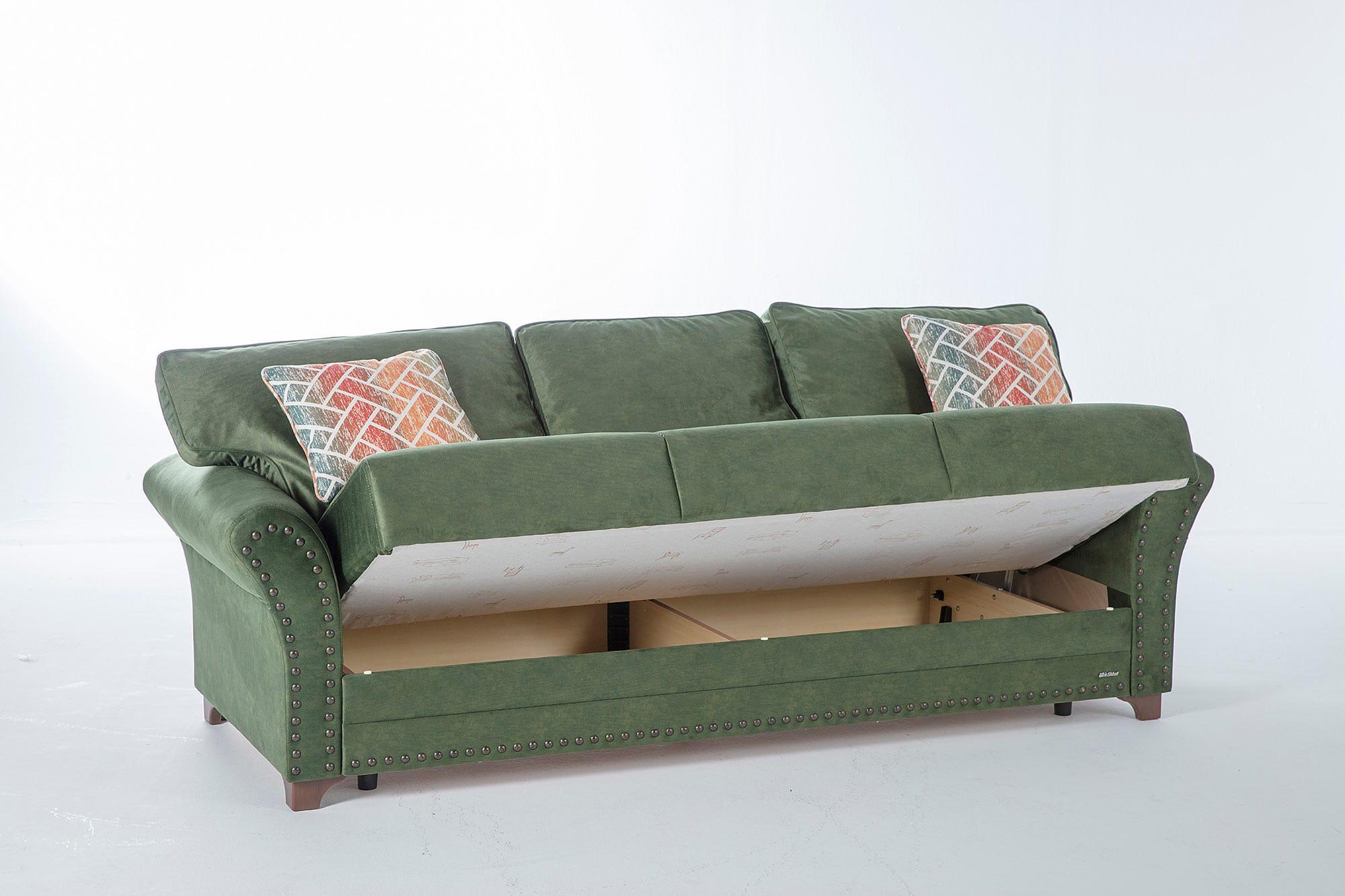 Brady Samba Green w/Memory Foam Convertible Sofa Bed by Istikbal ...