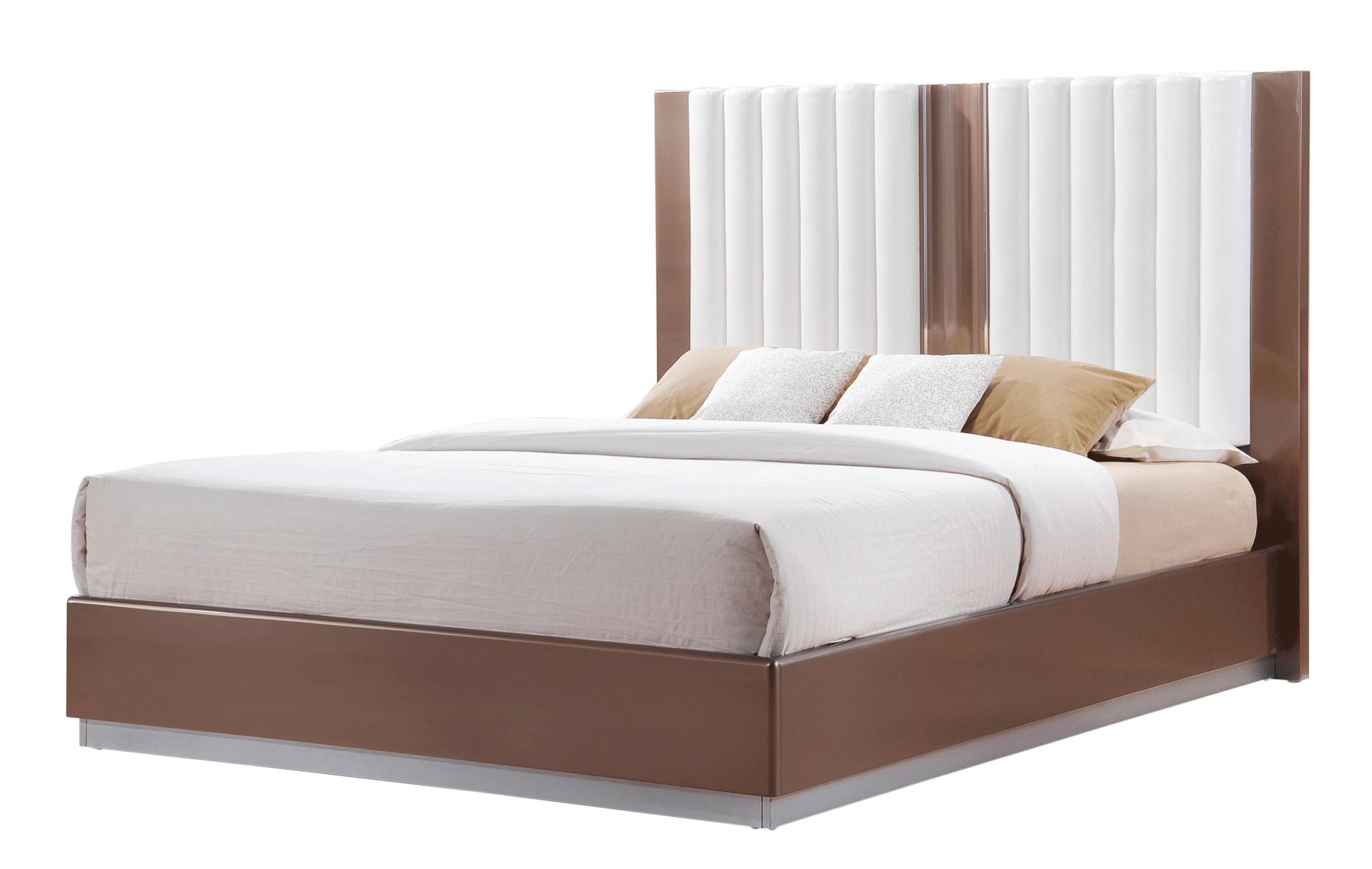 Brooklyn Brown Light Glossy Bedroom Set by Global Furniture