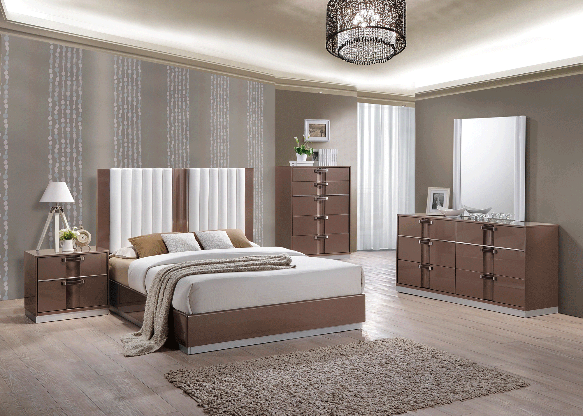 Brooklyn Brown Light Glossy Bedroom Set by Global Furniture