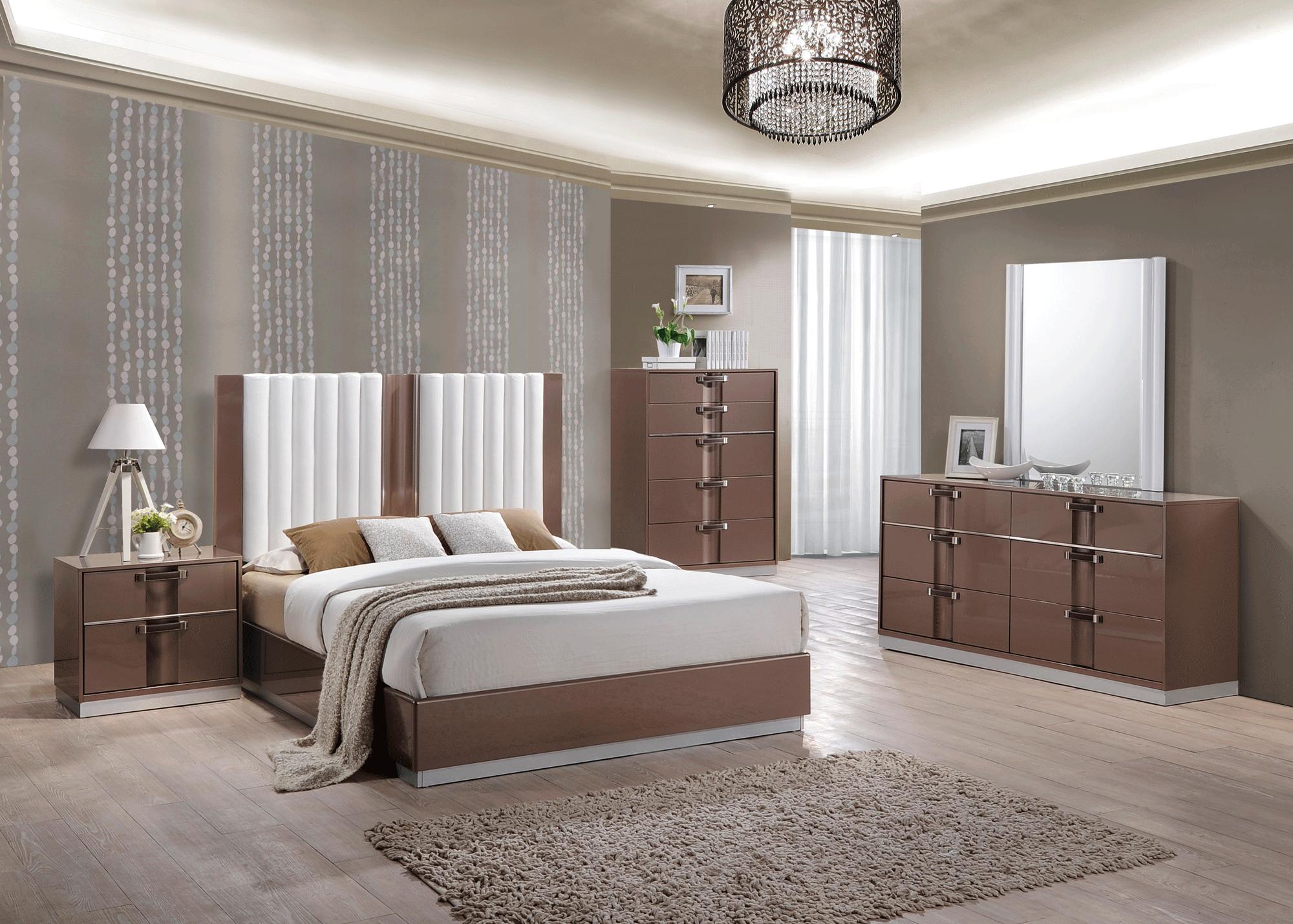Global Bedroom Furniture Brooklyn Brown Light Glossy Bedroom Set By Global Furniture