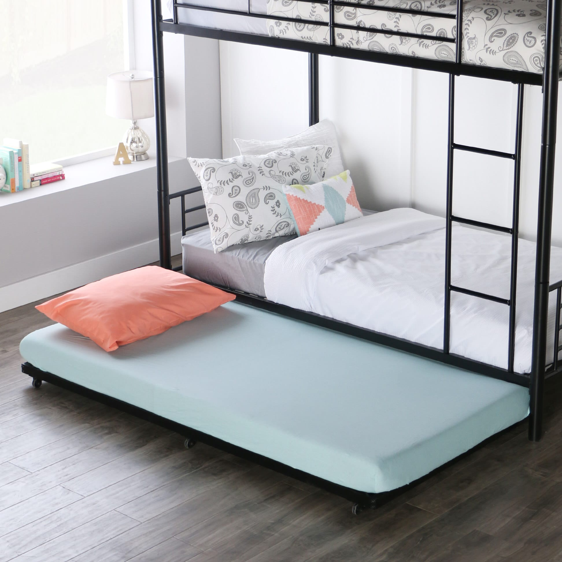 Twin Roll Out Trundle Bed Frame Black By Walker Edison