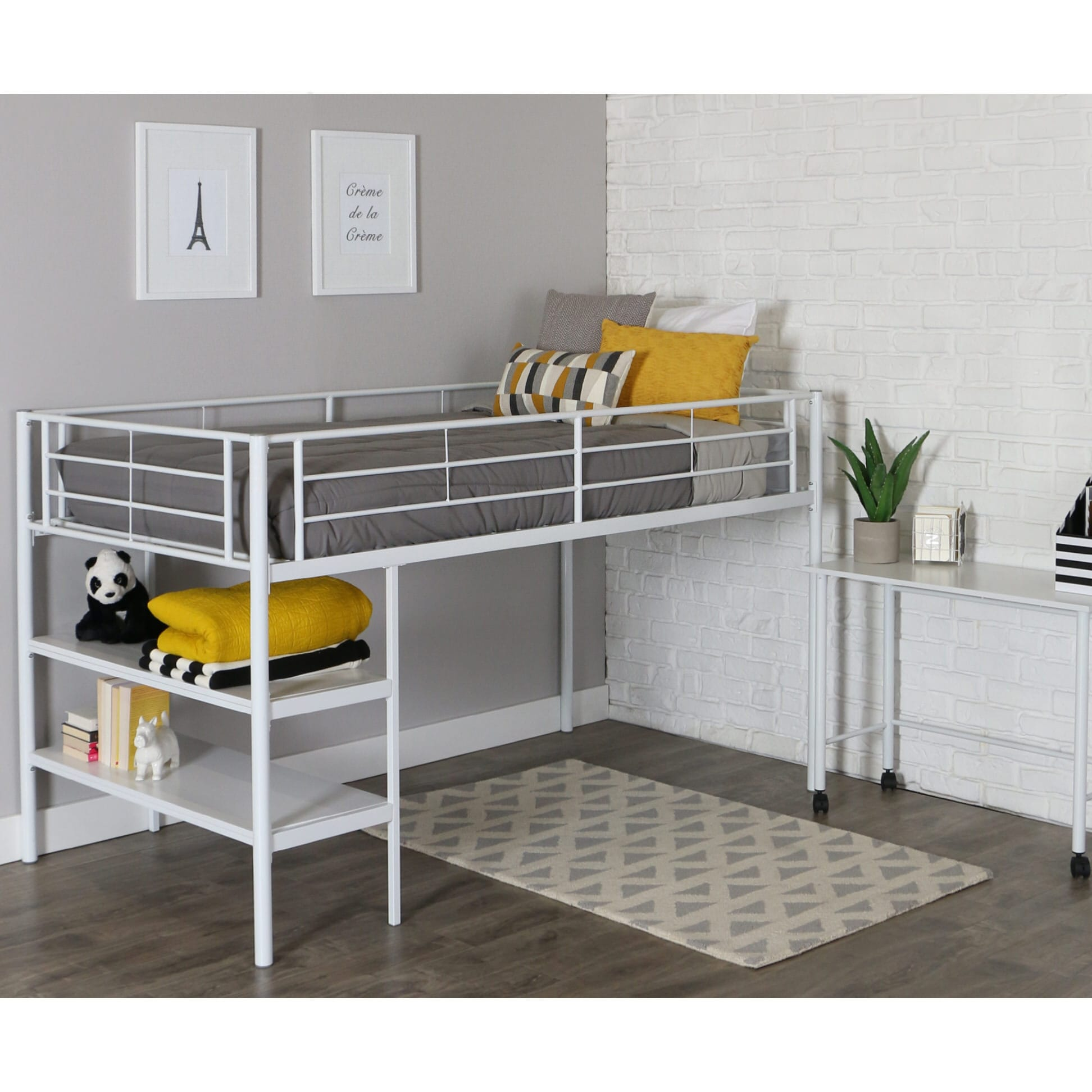 Sunset Twin Loft Bed with Desk and Shelves - White by Walker Edison