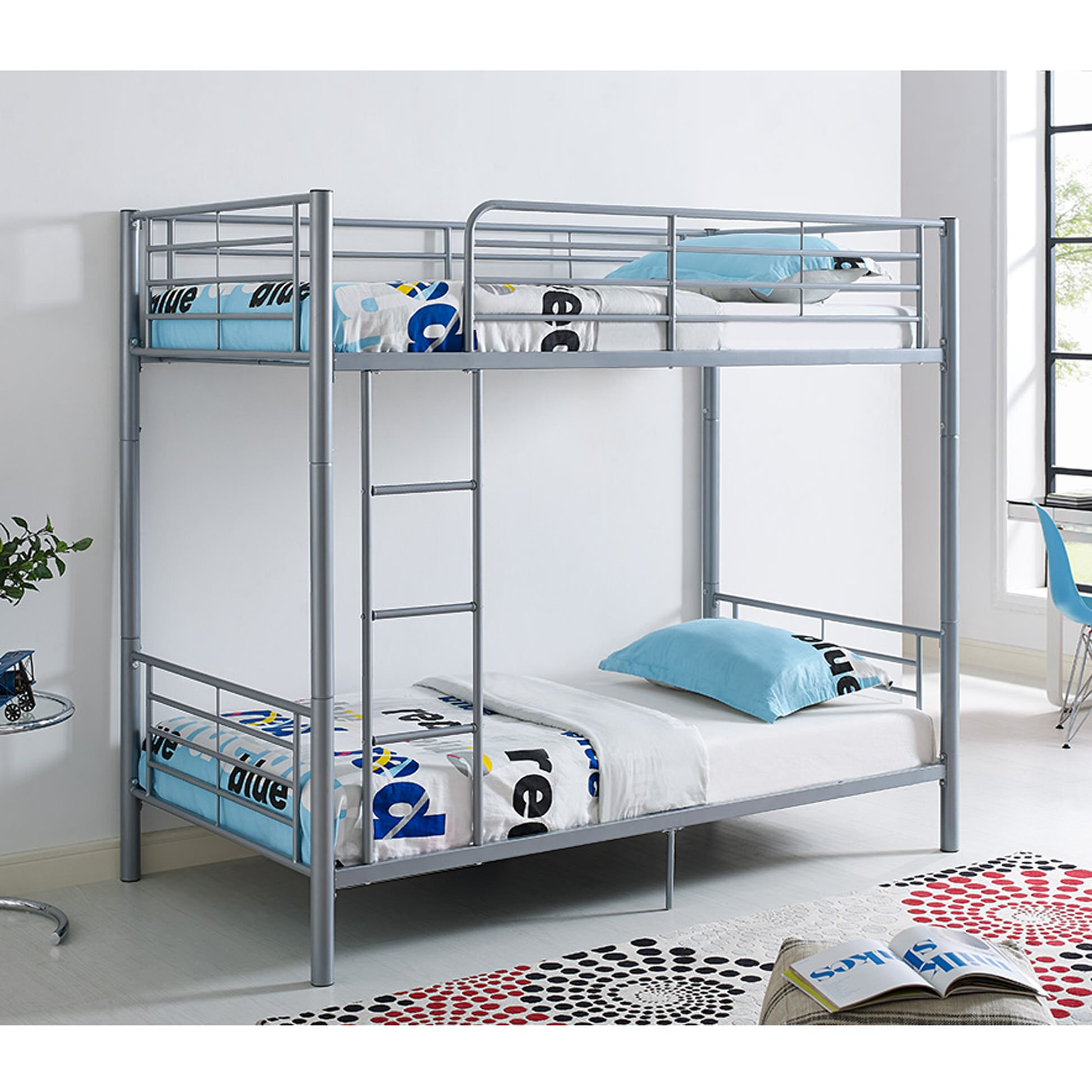 Twin metal bunk bed silver by walker edison for Bunk bed frame