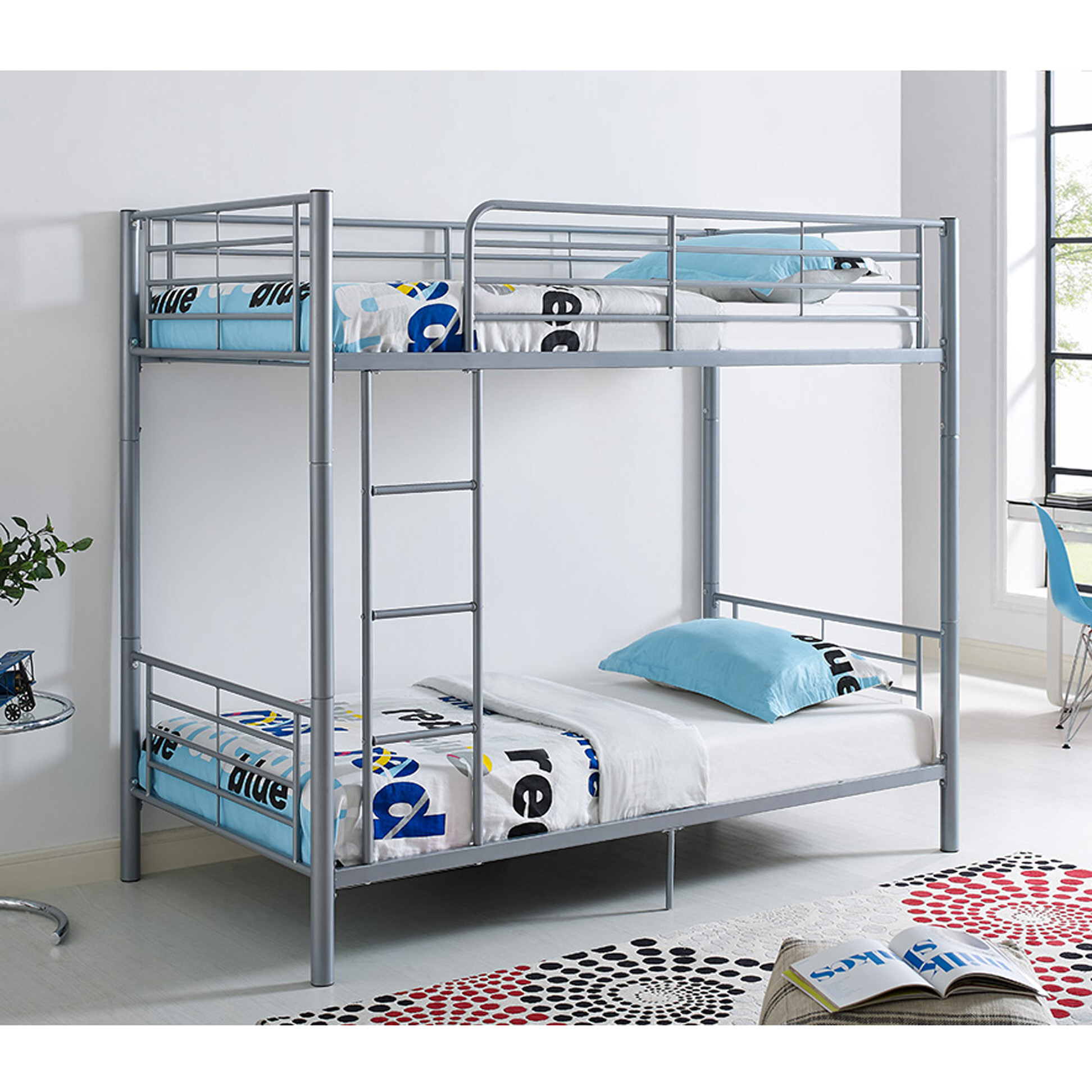 Twin metal bunk bed silver by walker edison for Bunk bed frame with mattress