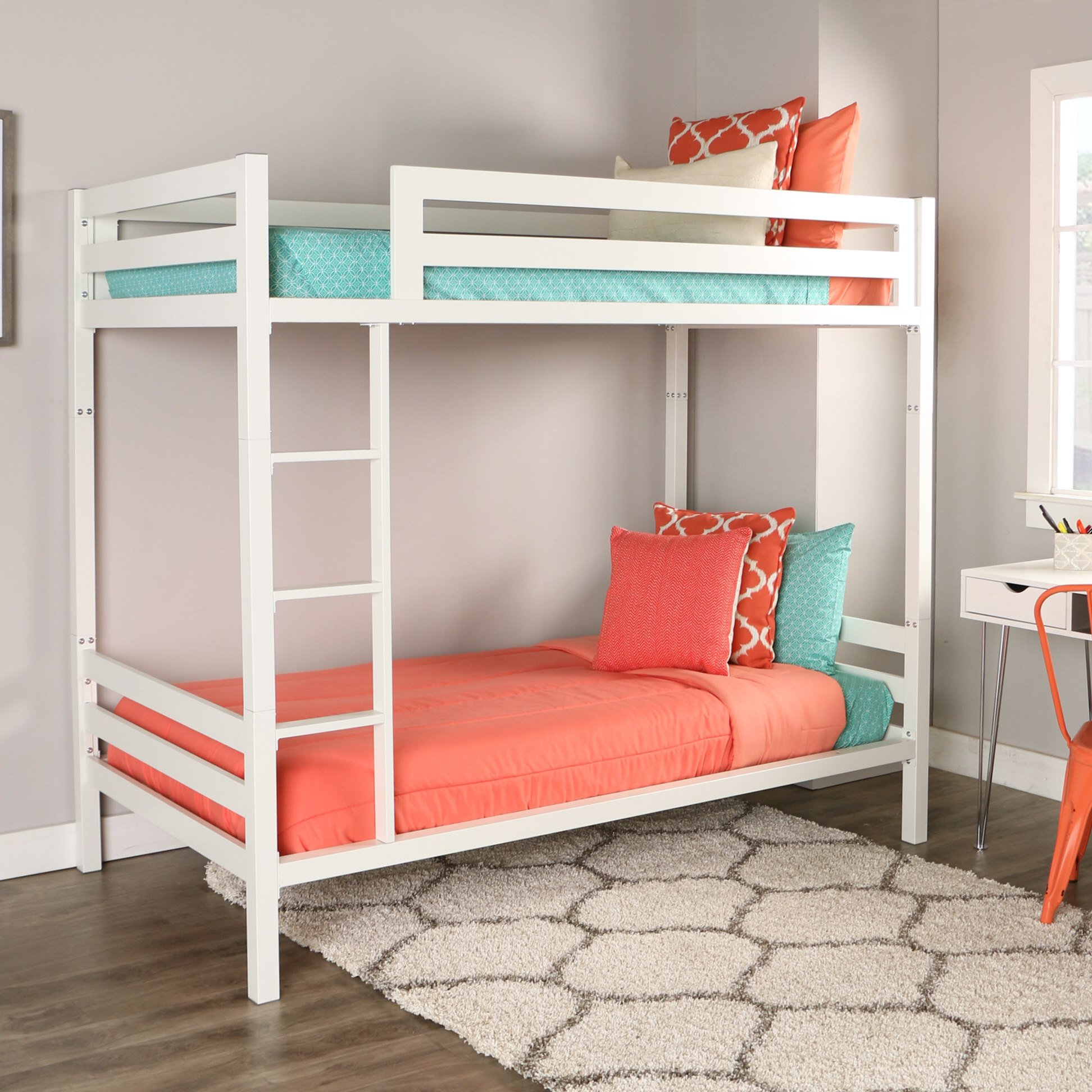 bentley twin over twin metal bunk bed white by walker edison. Black Bedroom Furniture Sets. Home Design Ideas