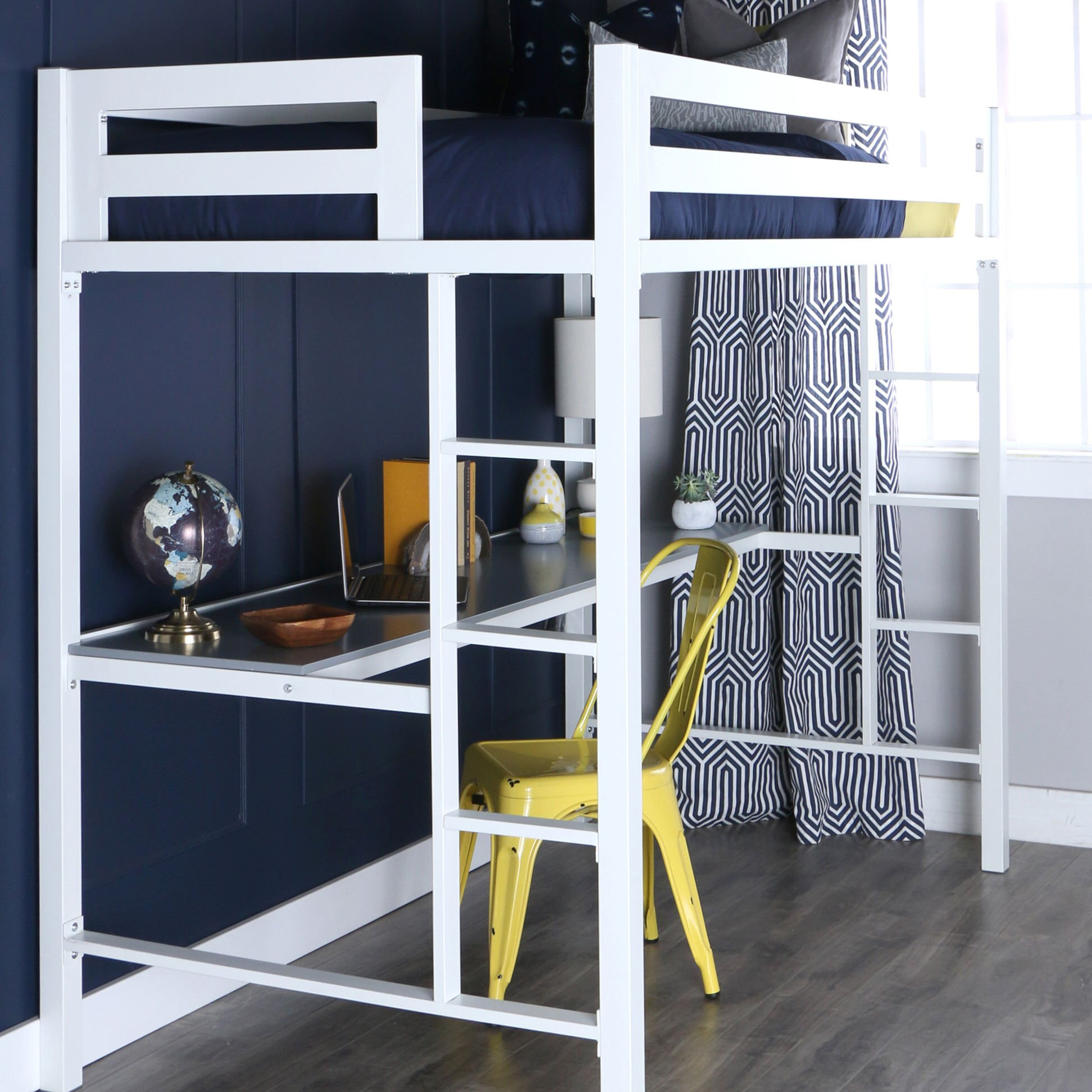 Twin metal loft bed with desk - Bentley Twin Over Metal Loft Bed With Workstation White By Walker Edison