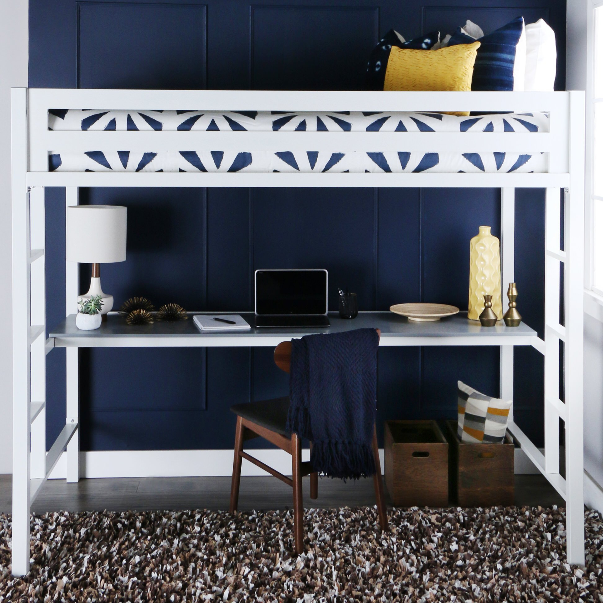 Bentley Twin Over Metal Loft Bed With Workstation   White By Walker Edison