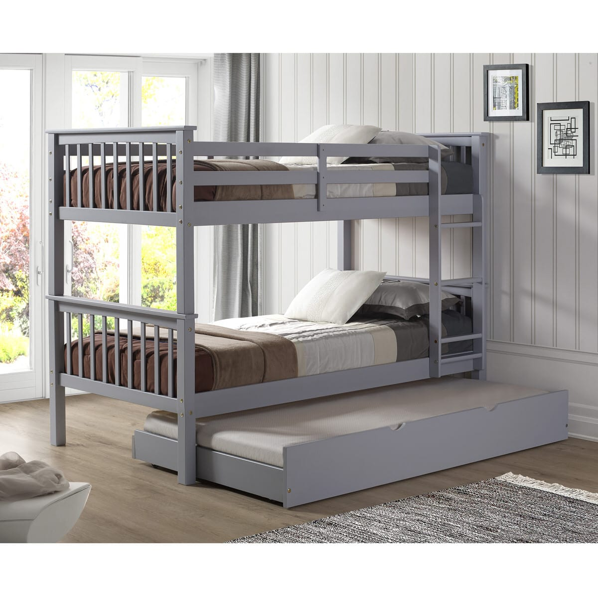 designer fashion 13f5b 6460e Solid Wood Twin Bunk Bed w/ Trundle Bed - Gray by Walker Edison