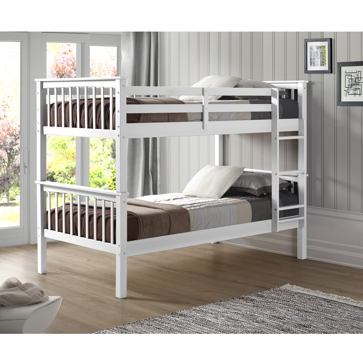Mission Design Twin over Twin Solid Wood Bunk Bed - White by Walker Edison