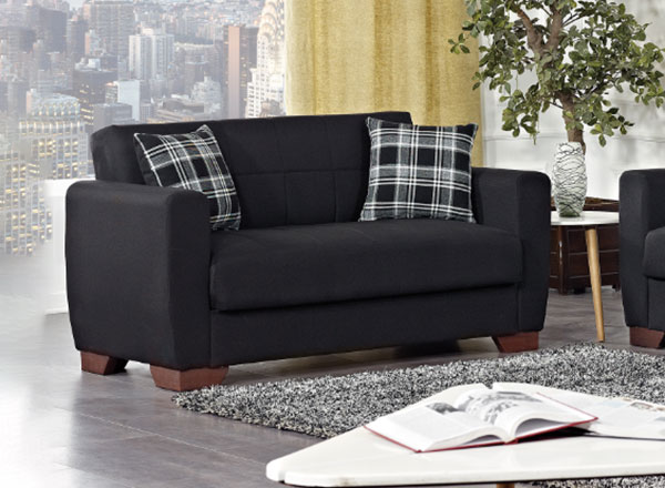 Incredible Barato Black Convertible Loveseat By Casamode Pdpeps Interior Chair Design Pdpepsorg