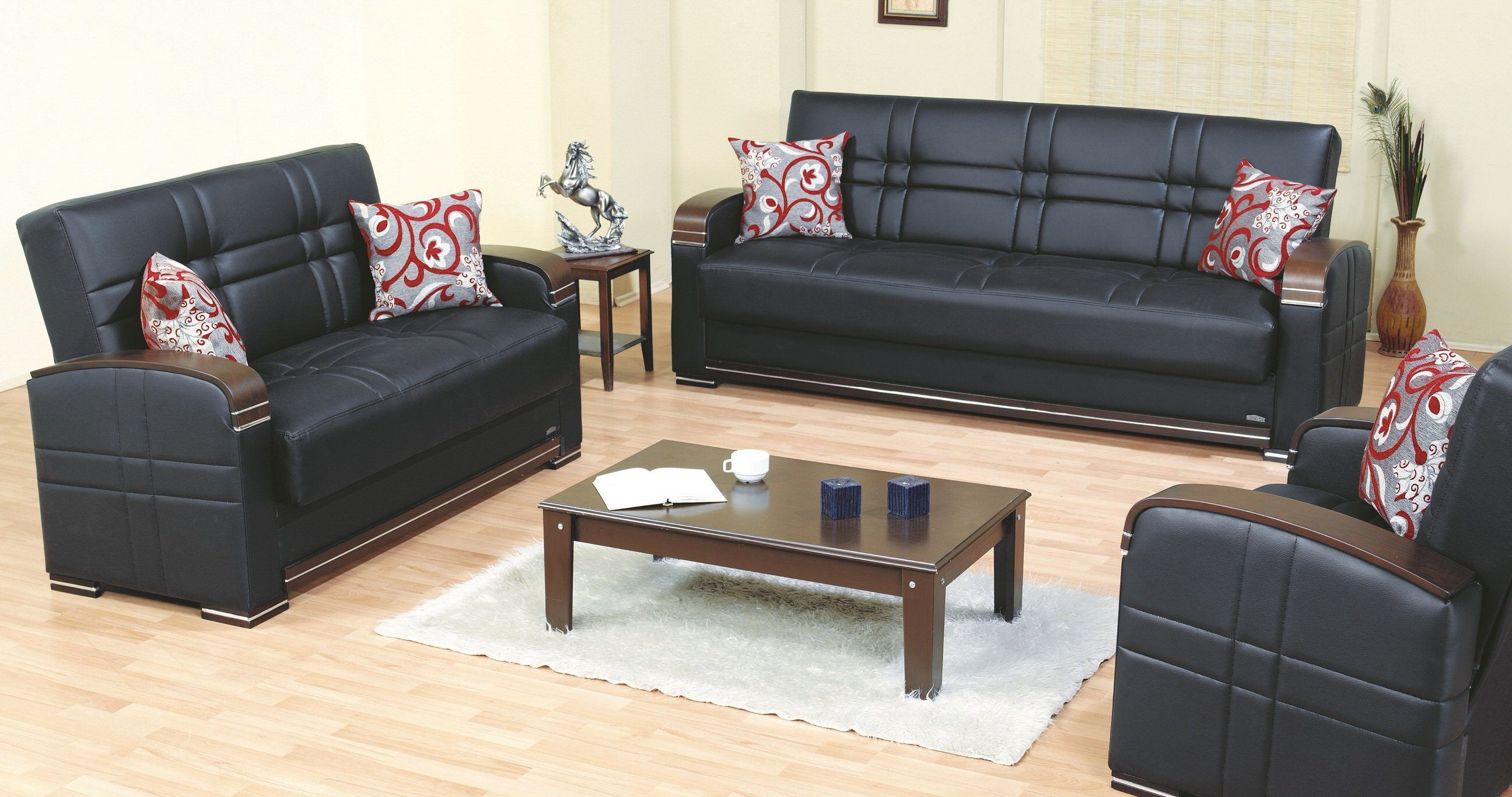 Bronx Black Leather Loveseat By Empire Furniture Usa