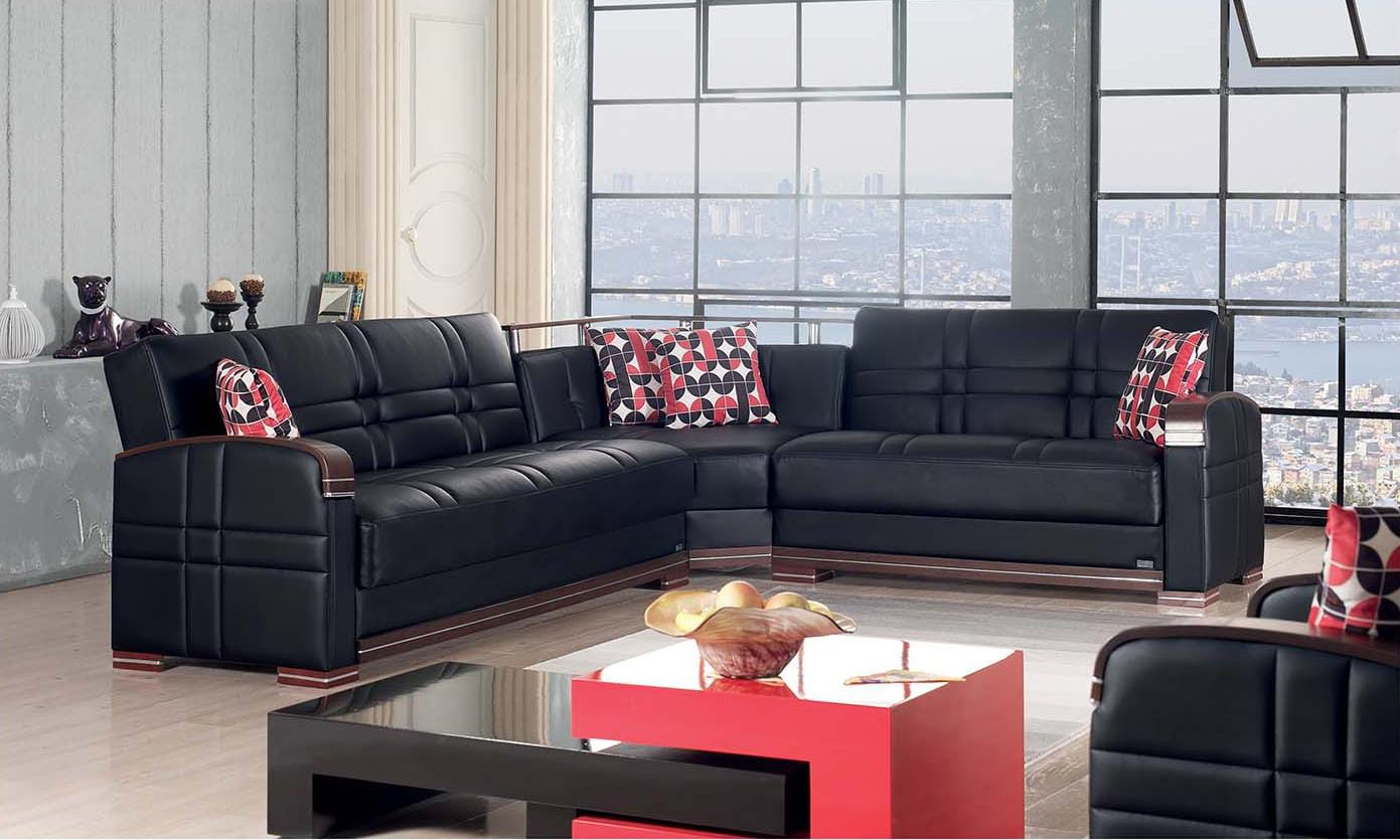 Bronx Black Leather Sectional Sofa By Empire Furniture Usa